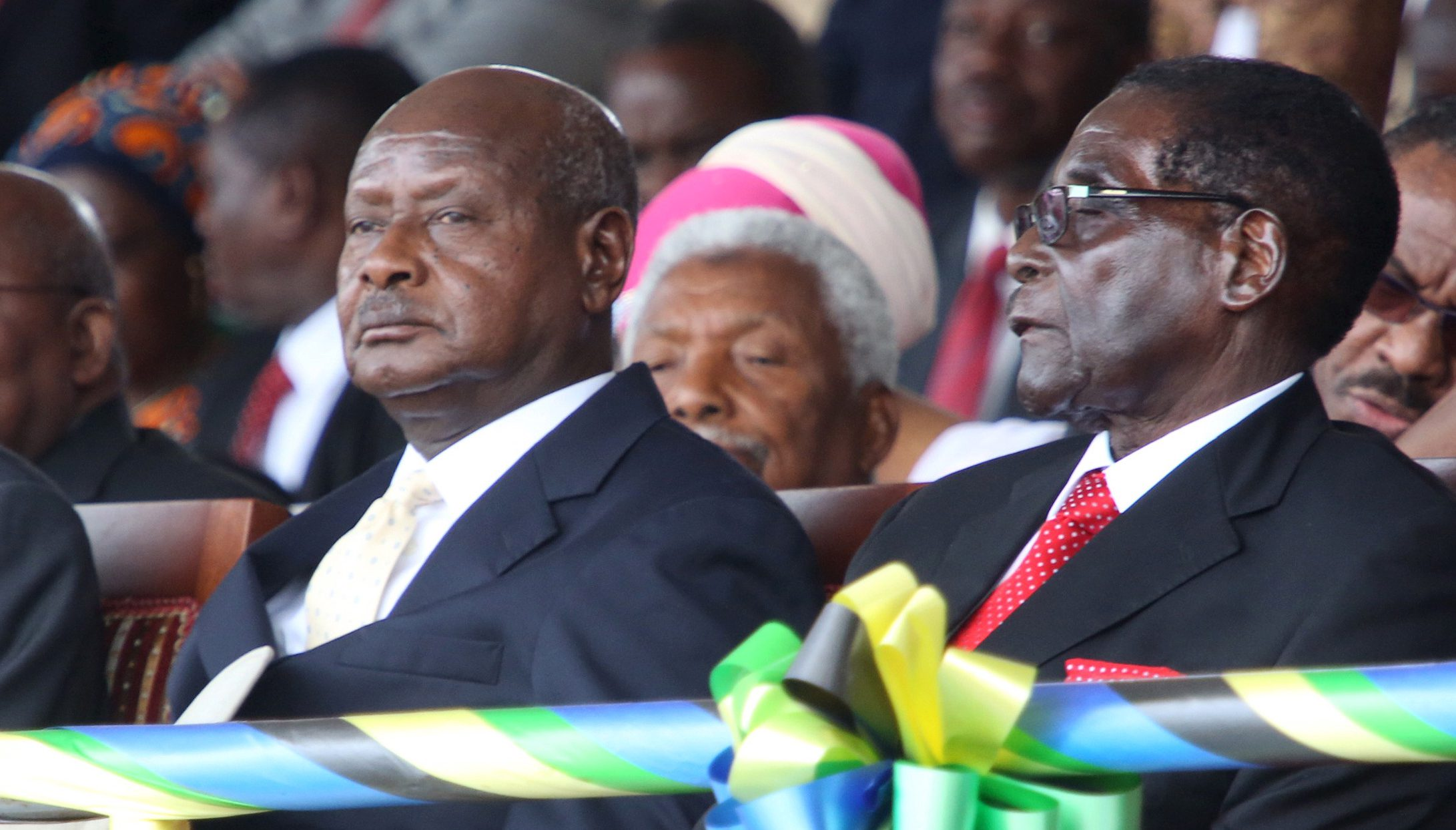 Rwanda's President Kagame, Uganda's President Museveni and Zimbabwe's President Mugabe attend the inauguration ceremony of Tanzania's President-elect Magufuli at the Uhuru Stadium in Dar es Salaam