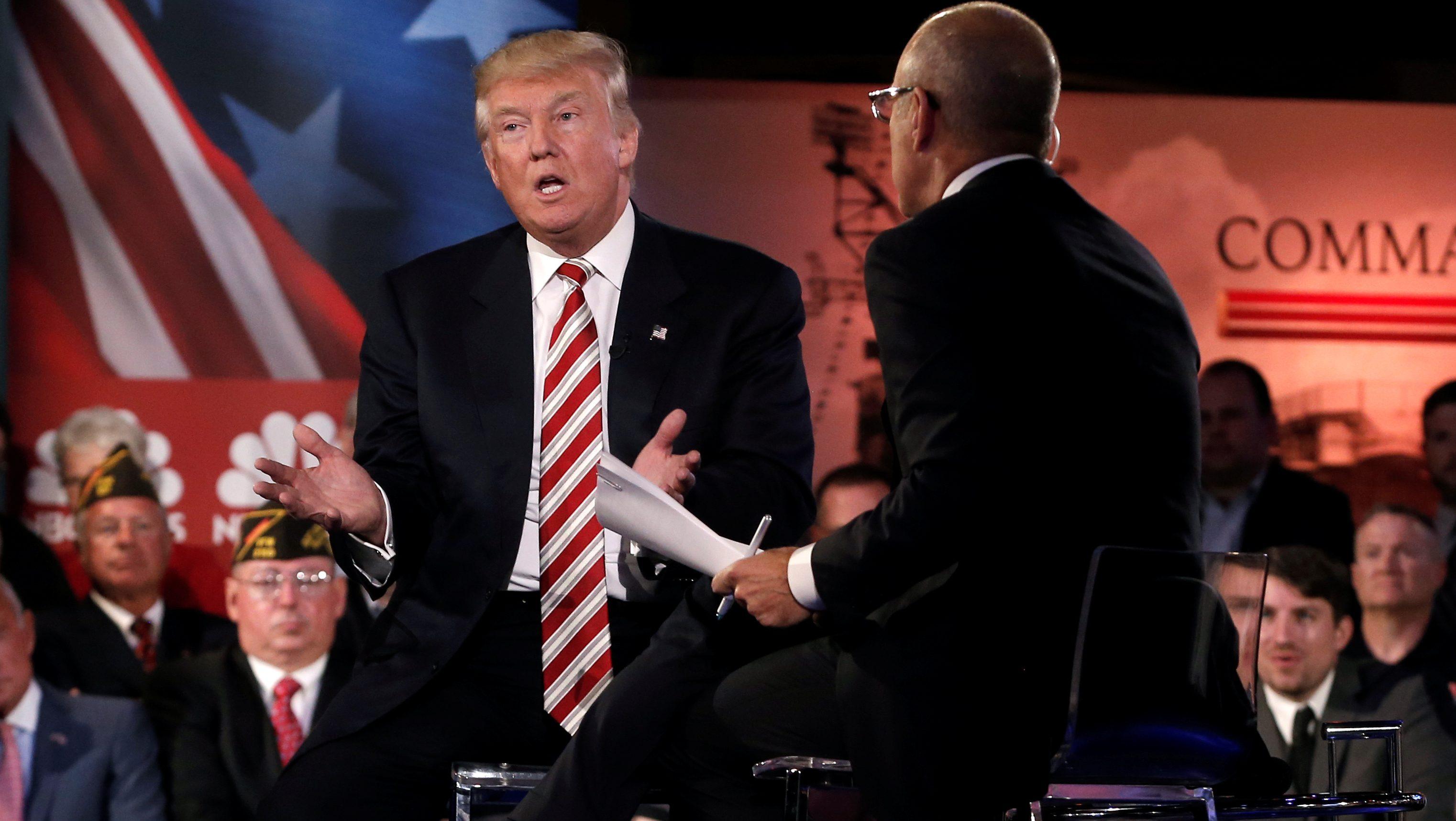 Republican presidential nominee Donald Trump speaks during the Commander in Chief Forum in Manhattan, New York, U.S., September 7, 2016.  REUTERS/Mike Segar - S1AEUAAKHIAA