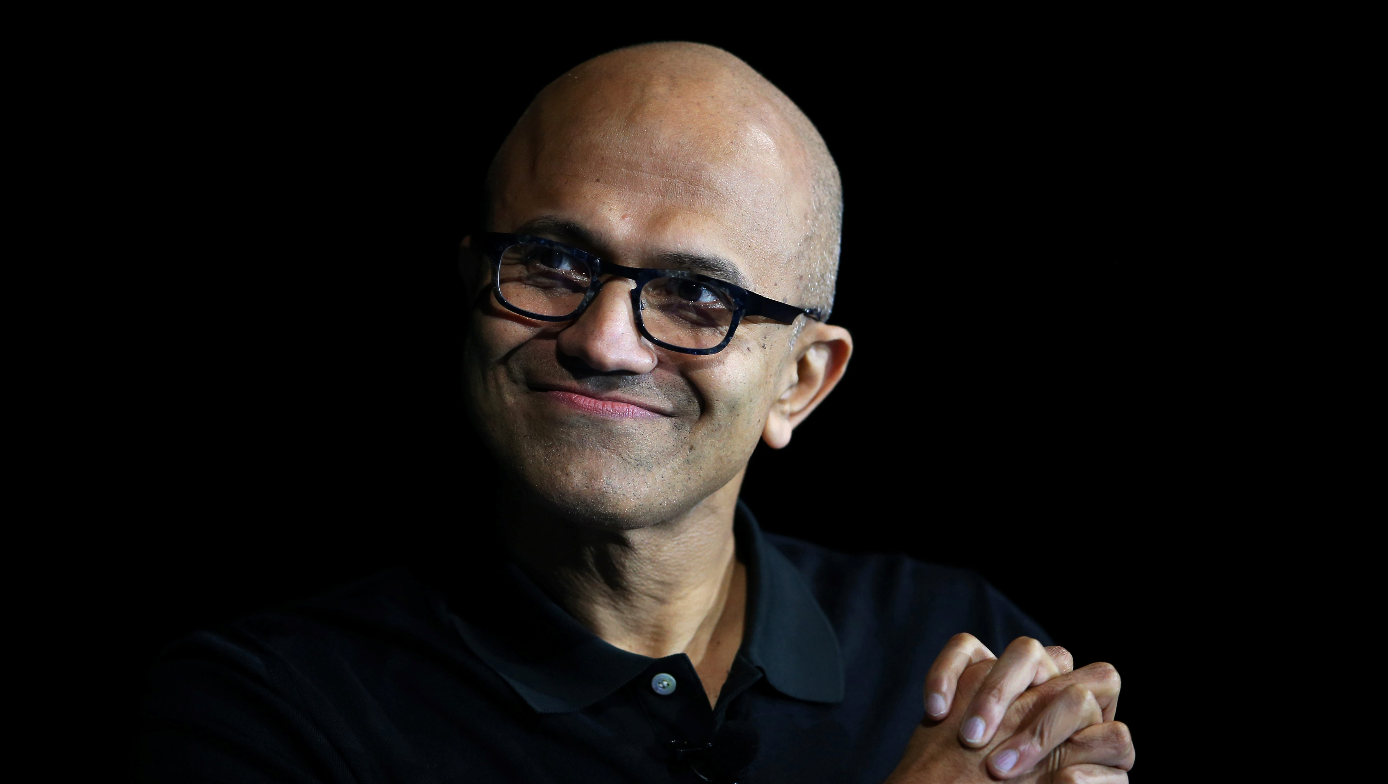 Satya Nadella, CEO of Microsoft, speaks during the opening night of the WSJD Live conference in Laguna Beach, California October 24, 2016.     REUTERS/Mike Blake - S1AEUIXZFJAA