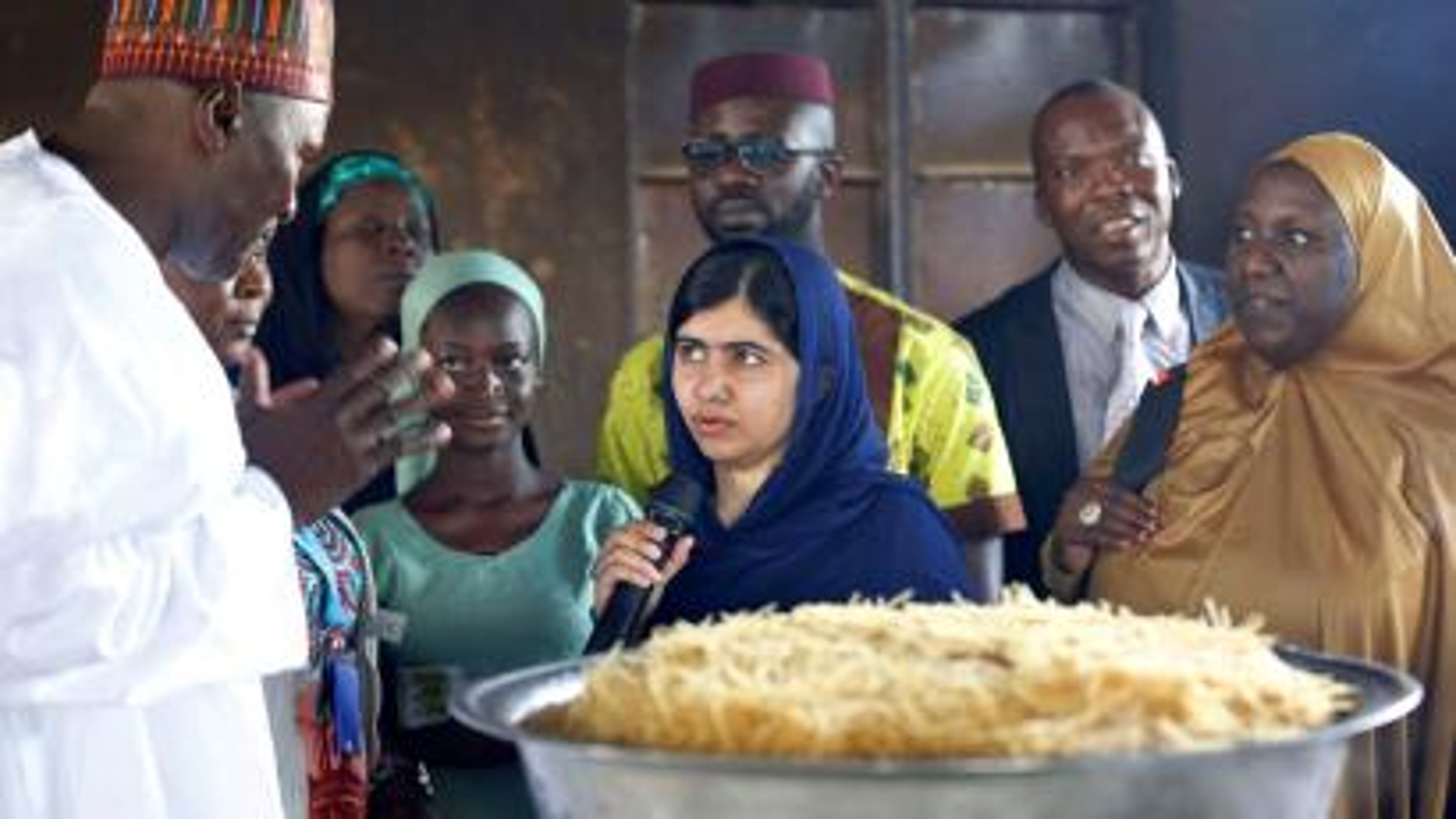 Nobel laureate Malala Yousafzai seen at the kitchen of Yerwa Girls school in Maiduguri, Nigeria