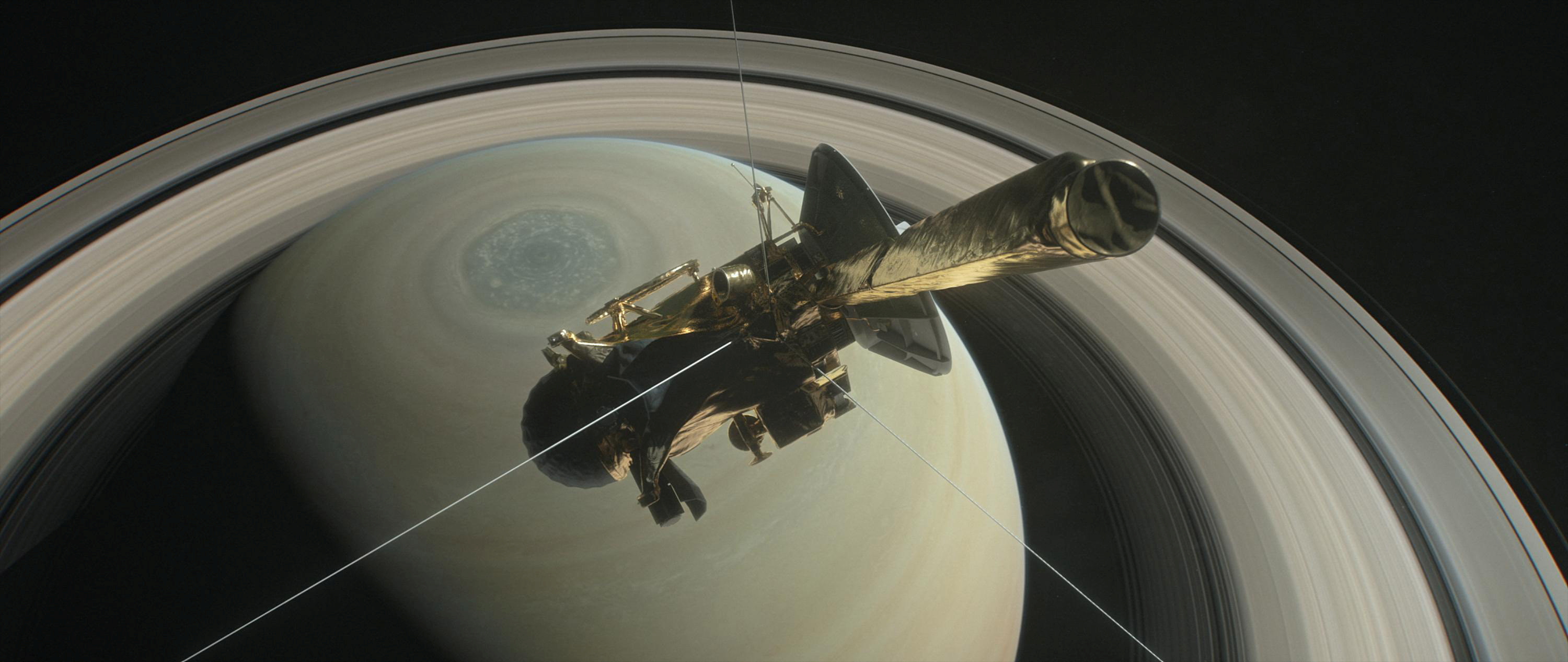 The spacecraft Cassini is pictured above Saturn's northern hemisphere prior to making one of its Grand Finale dives