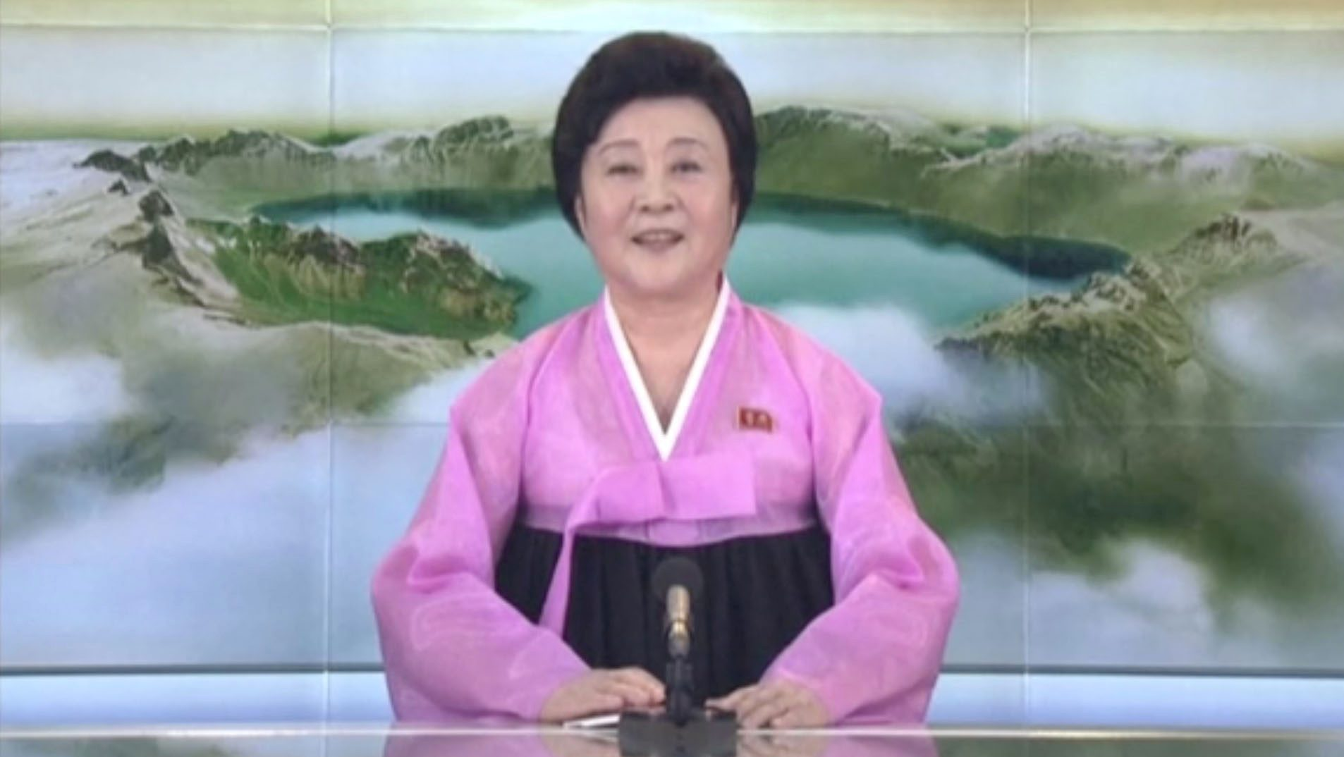 A presenter makes a special announcement on North KoreaÕs state-run television after the country launched a missile, in this still image taken from a video released by KRT, November 29, 2017.