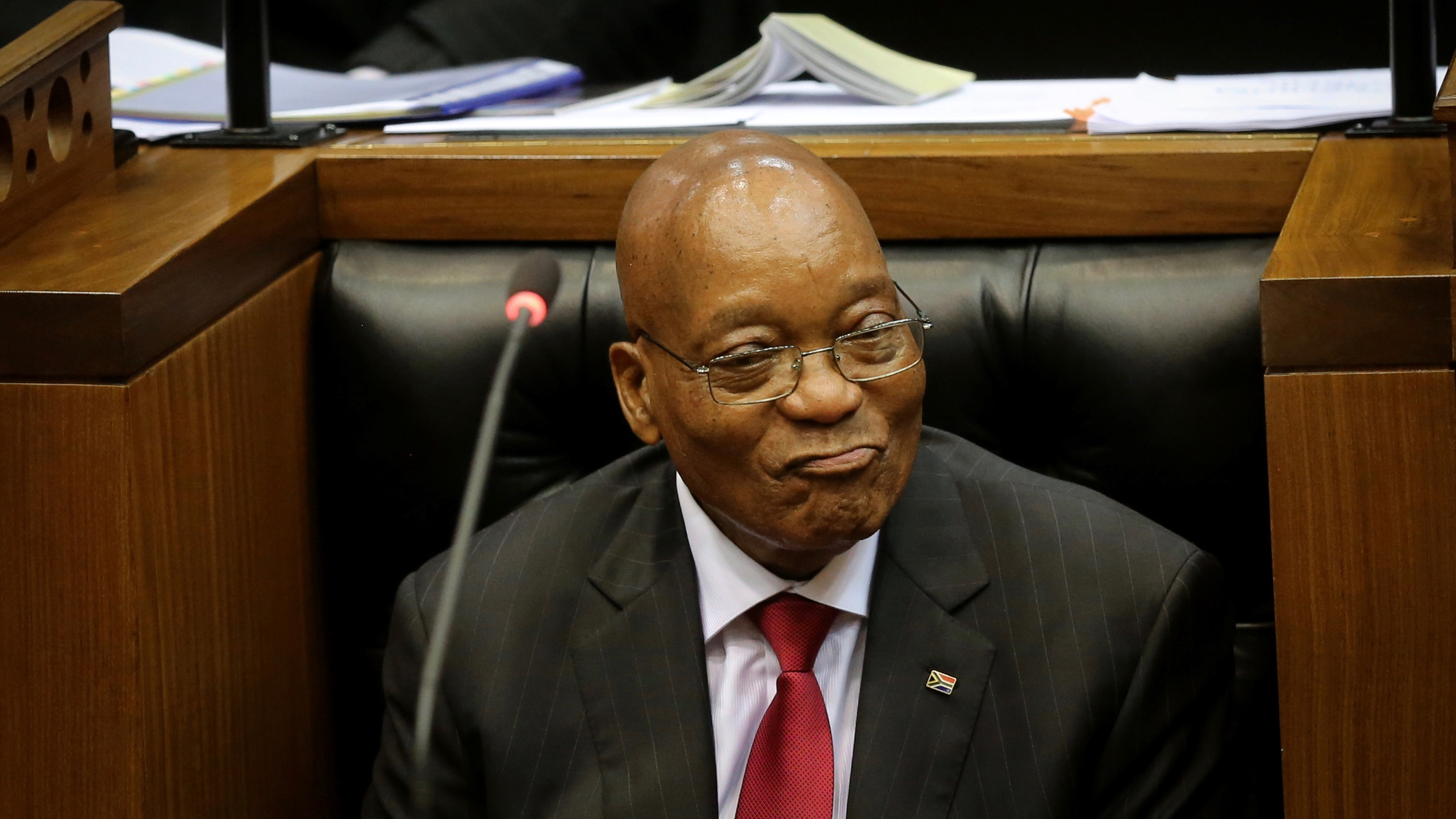 President Jacob Zuma during his State of the Nation Address (SONA) to a joint sitting of the National Assembly and the National Council of Provinces in Cape Town, South Africa February 9, 2017. REUTERS/Sumaya Hisham - RC1F1946B540