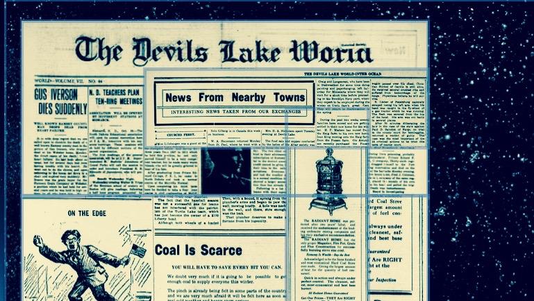 Old newspaper against night sky.