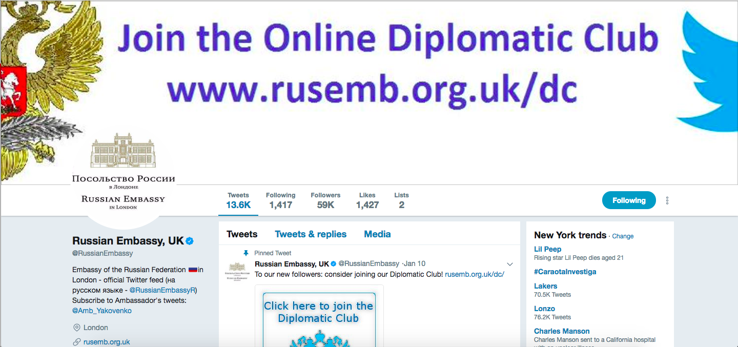 Russia's UK embassy Twitter account has 100 super fans who boost its tweets