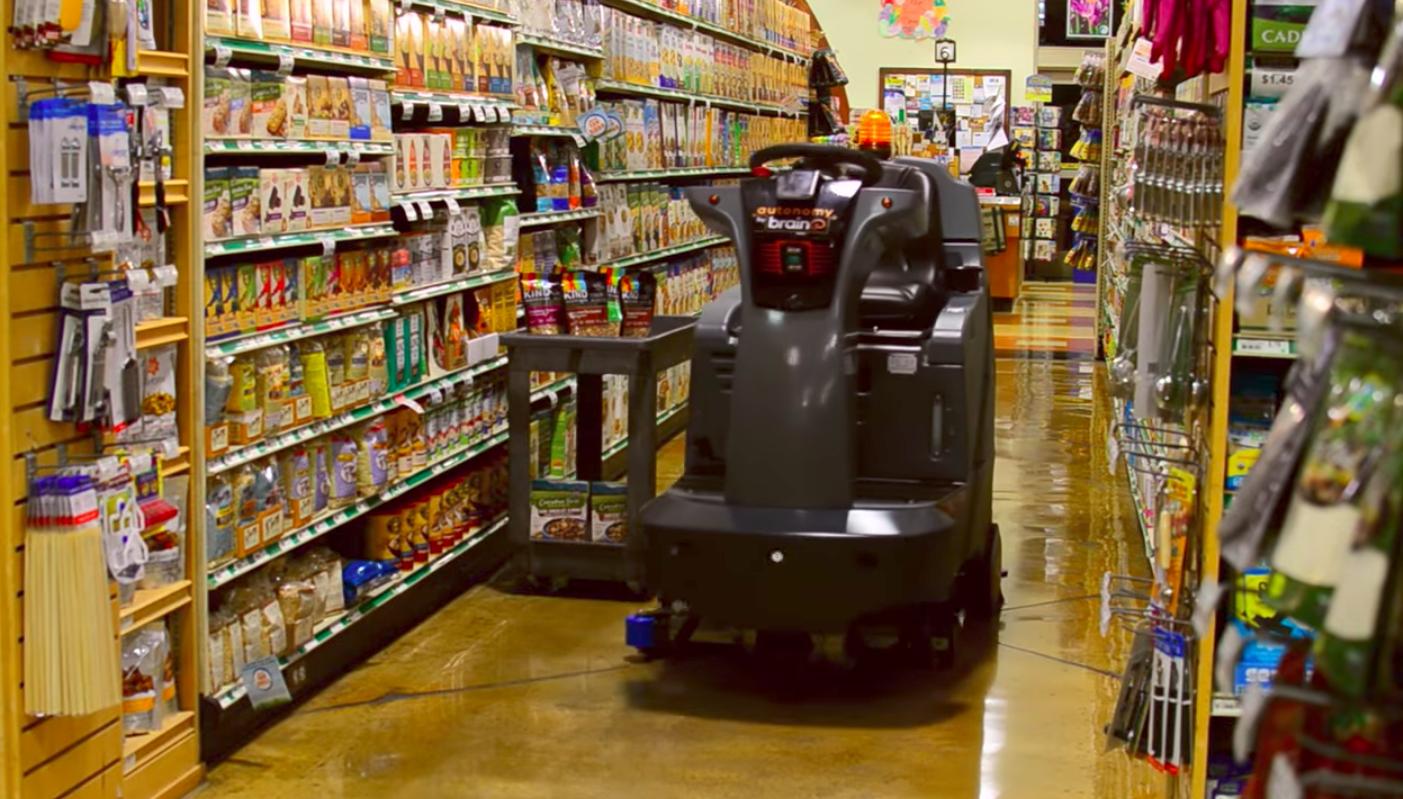 Walmart is piloting Brain Corps self-driving floor scrubbers called EMMA in five stores.