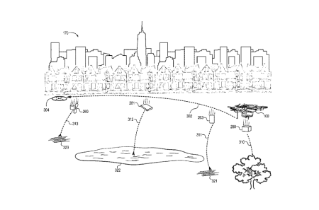 The drawing of Amazon's drone, equipped with a system to drop components when necessary.