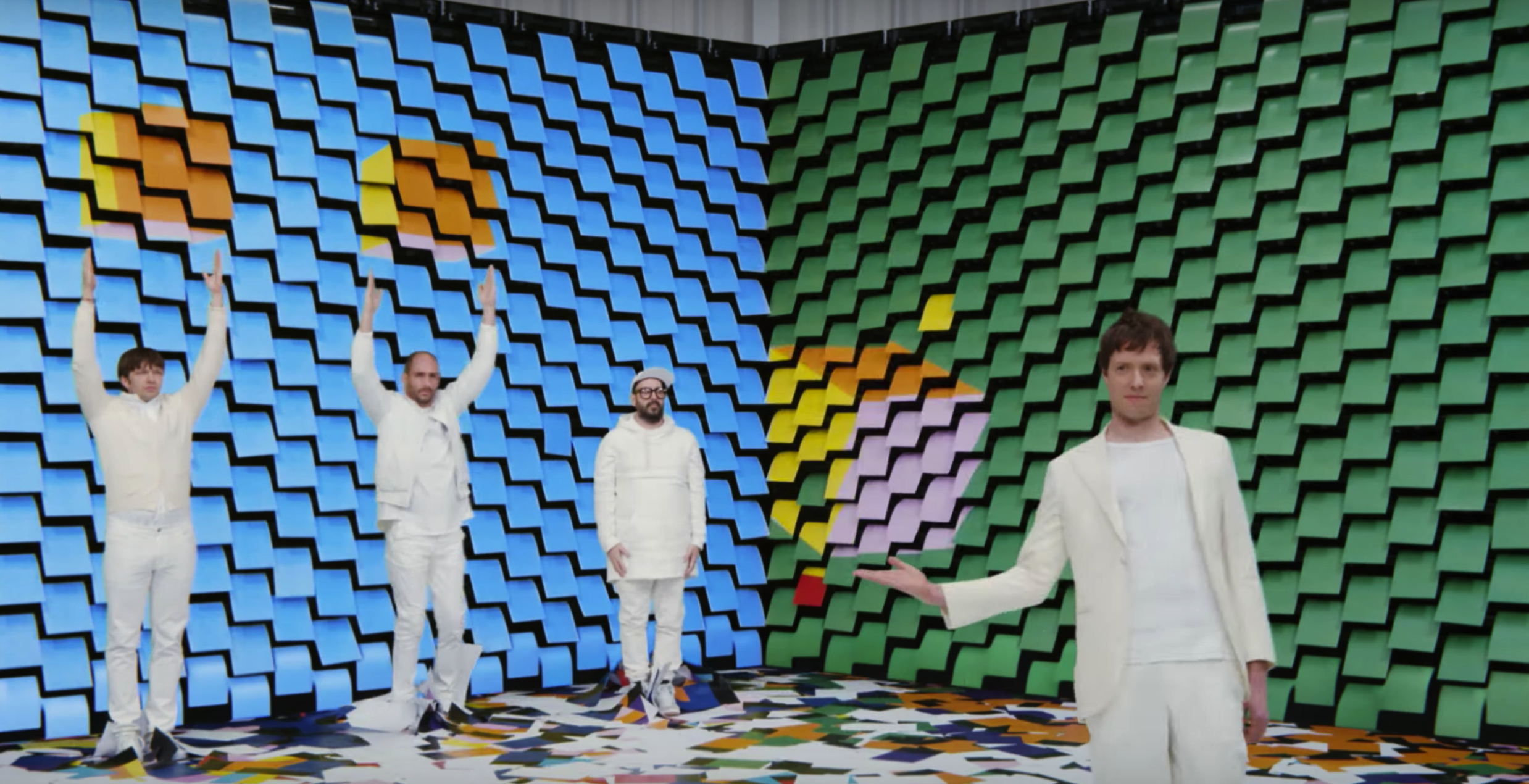 Screenshot from Ok Go's new video for 'Obsession.'