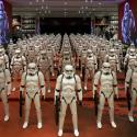 Star Wars characters standing in a hallway.