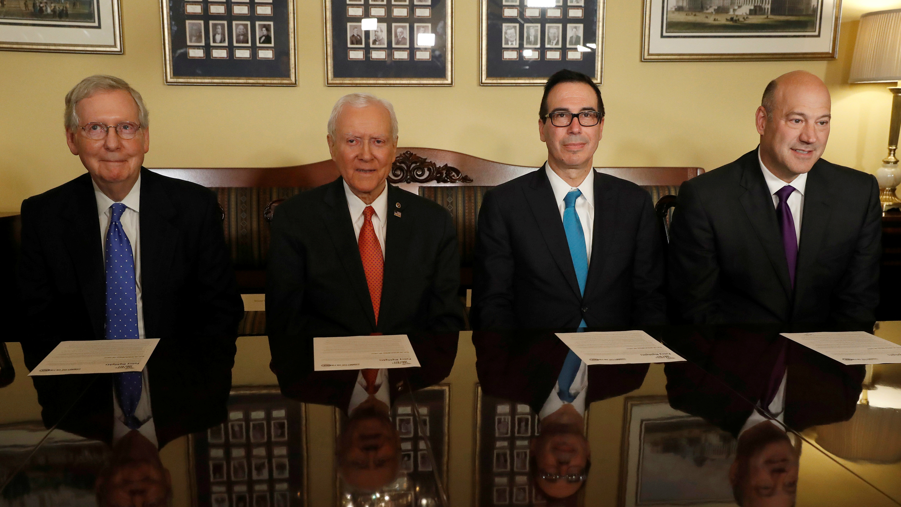 Senate Majority Leader Mitch McConnell, Sen. Orrin Hatch, Treasury Secretary Steve Mnuchin and Director of the National Economic Council Gary Cohn introduce the Republican tax reform plan at the U.S. Capitol in Washington, U.S., November 9, 2017.