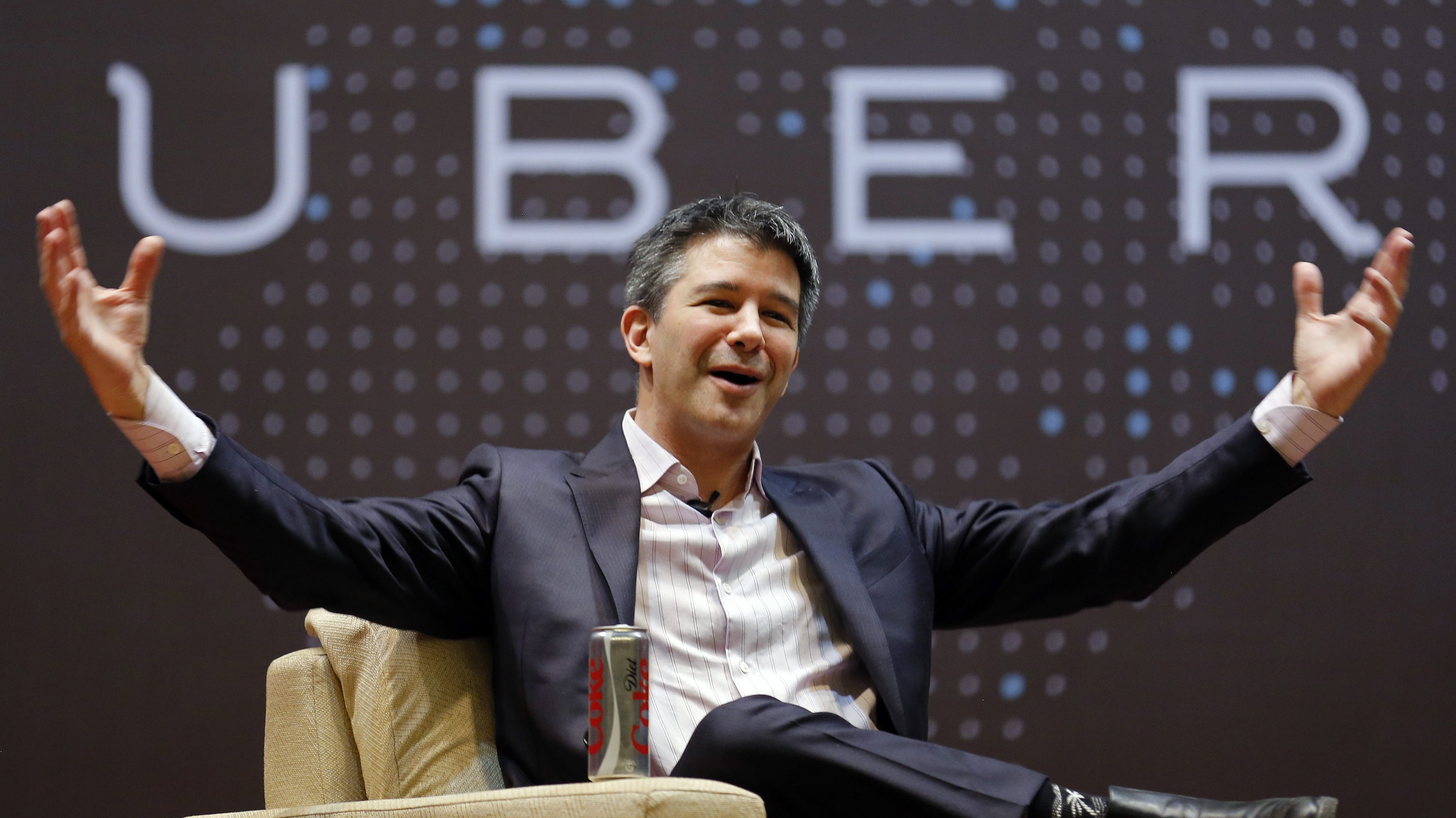Uber CEO Travis Kalanick speaks to students during an interaction at the Indian Institute of Technology (IIT) campus in Mumbai, India, January 19, 2016. REUTERS/Danish Siddiqui - RTX231O6