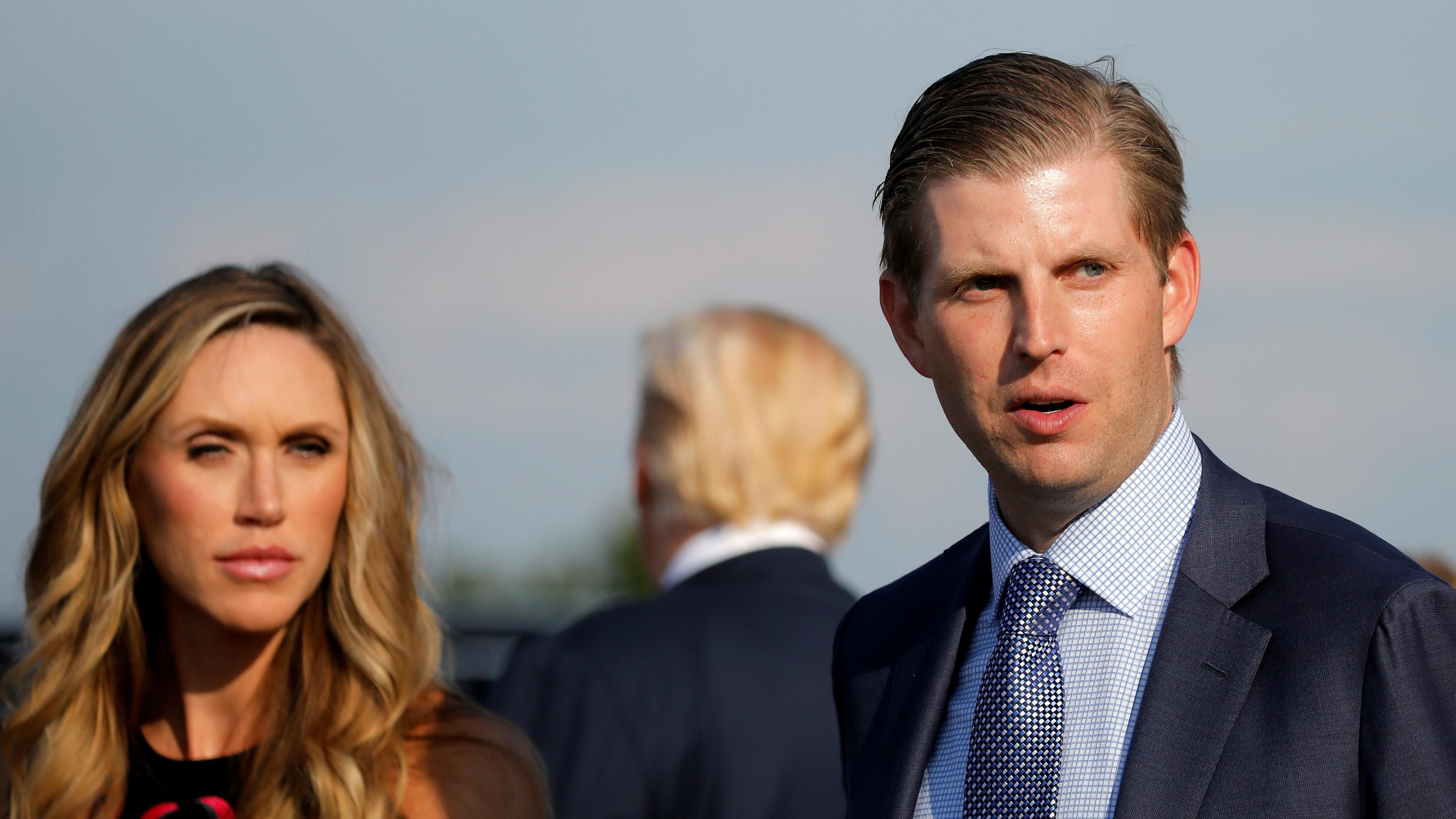 ric Trump and his wife Lara Yunaska arrive at Huntington tri-state airport.