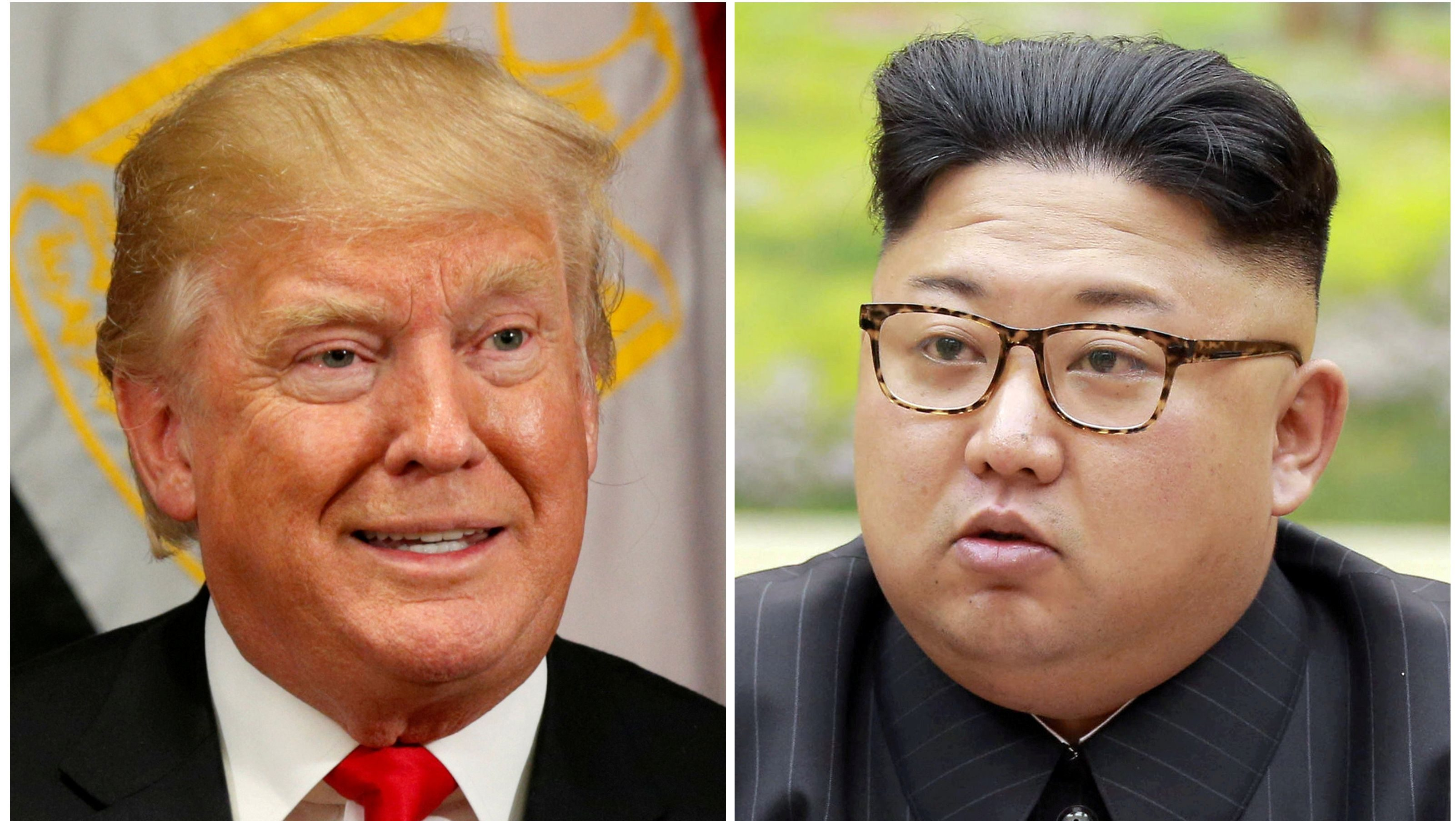 A combination photo shows U.S. President Donald Trump in New York, U.S. September 21, 2017 and North Korean leader Kim Jong Un in this undated photo released by North Korea's Korean Central News Agency (KCNA) in Pyongyang, September 4, 2017.