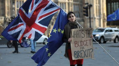 Protester outside British parliament before the autumn budget