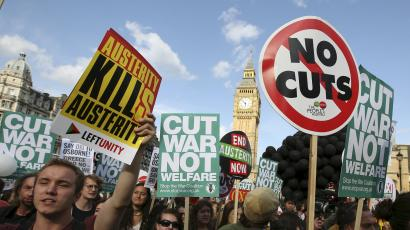 Protests against UK government budgets in 2015