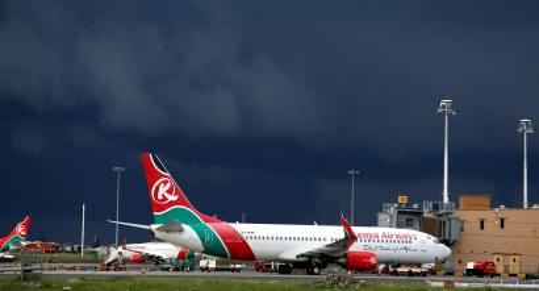 FILE PHOTO: Kenya Airways planes are seen parked during a pilots strike organised by Kenya Airline Pilots Association (KALPA) at the Jomo Kenyatta International Airport near Kenya's capital Nairobi, April 28, 2016.