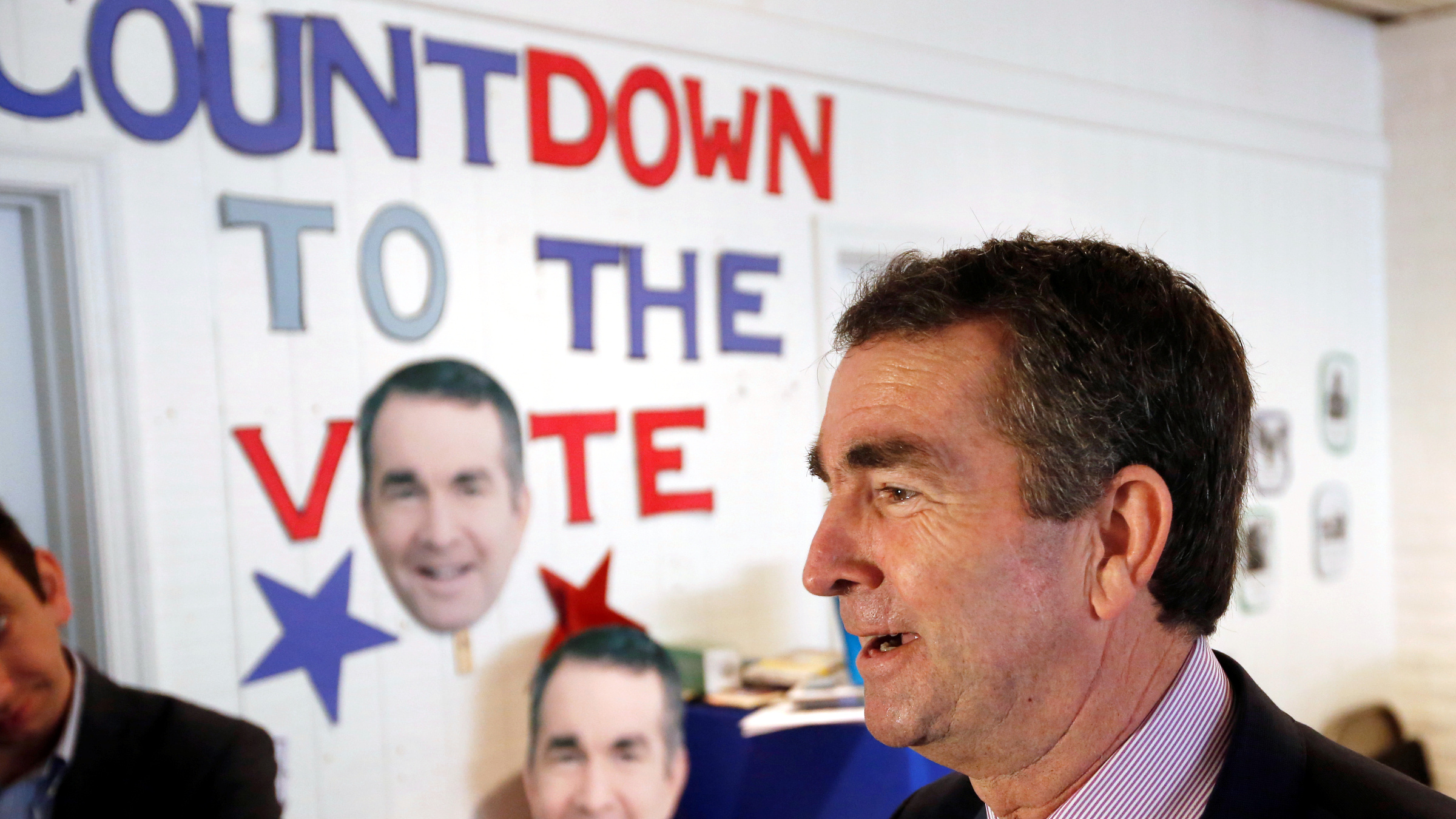 Virginia Lieutenant Governor Ralph Northam, who is campaigning to be elected as the state's governor, greets supporters during a rally in Richmond, Virginia, U.S. November 6, 2017.