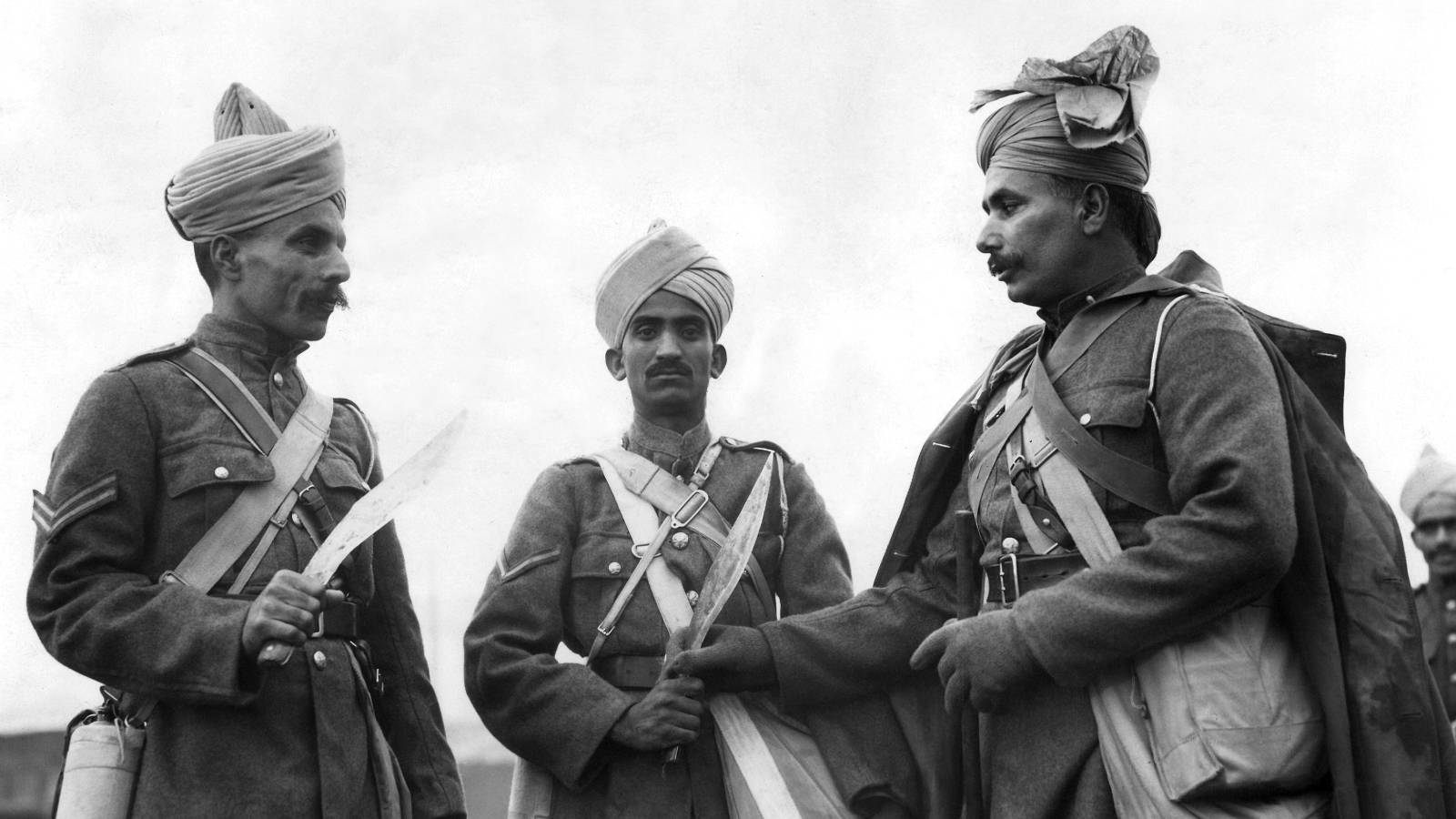 Detachments of the Royal Indian Army service corps and veterinary corps have arrived in France on Feb. 12, 1940, in their camp. Type with the knives which are issued for general utility purposes. The knives are intended for such purposes as cutting picketing pegs and so on.