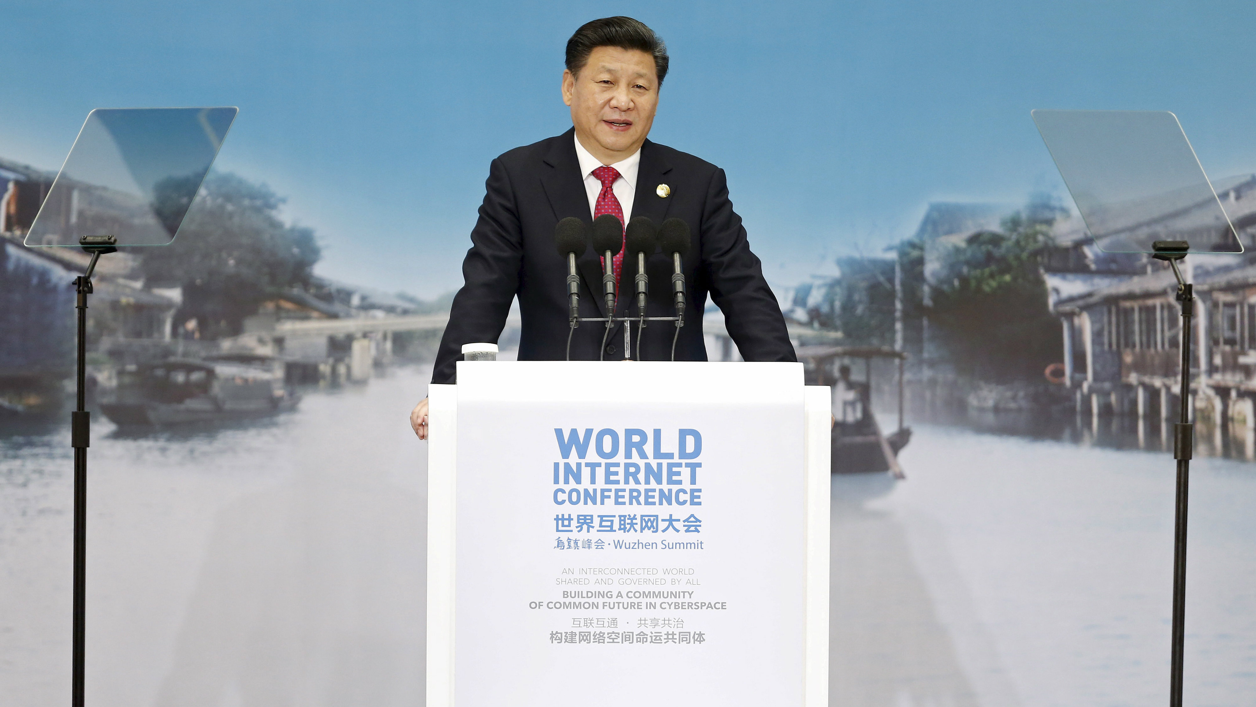 China's President Xi Jinping speaks during the opening ceremony of the 2nd annual World Internet Conference in Wuzhen town of Jiaxing, Zhejiang province, China, in this December 16, 2015 file picture.