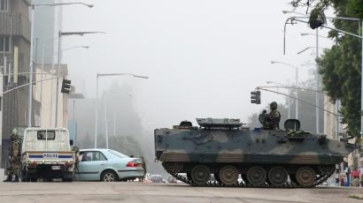 Military vehicles and soldiers patrol the streets in Harare, Zimbabwe Nov. 15.