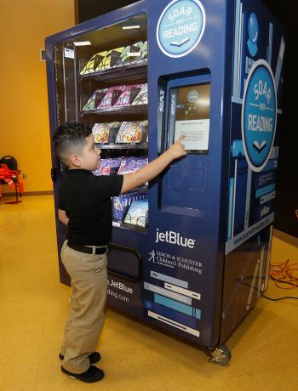JetBlue book vending machine Harvey