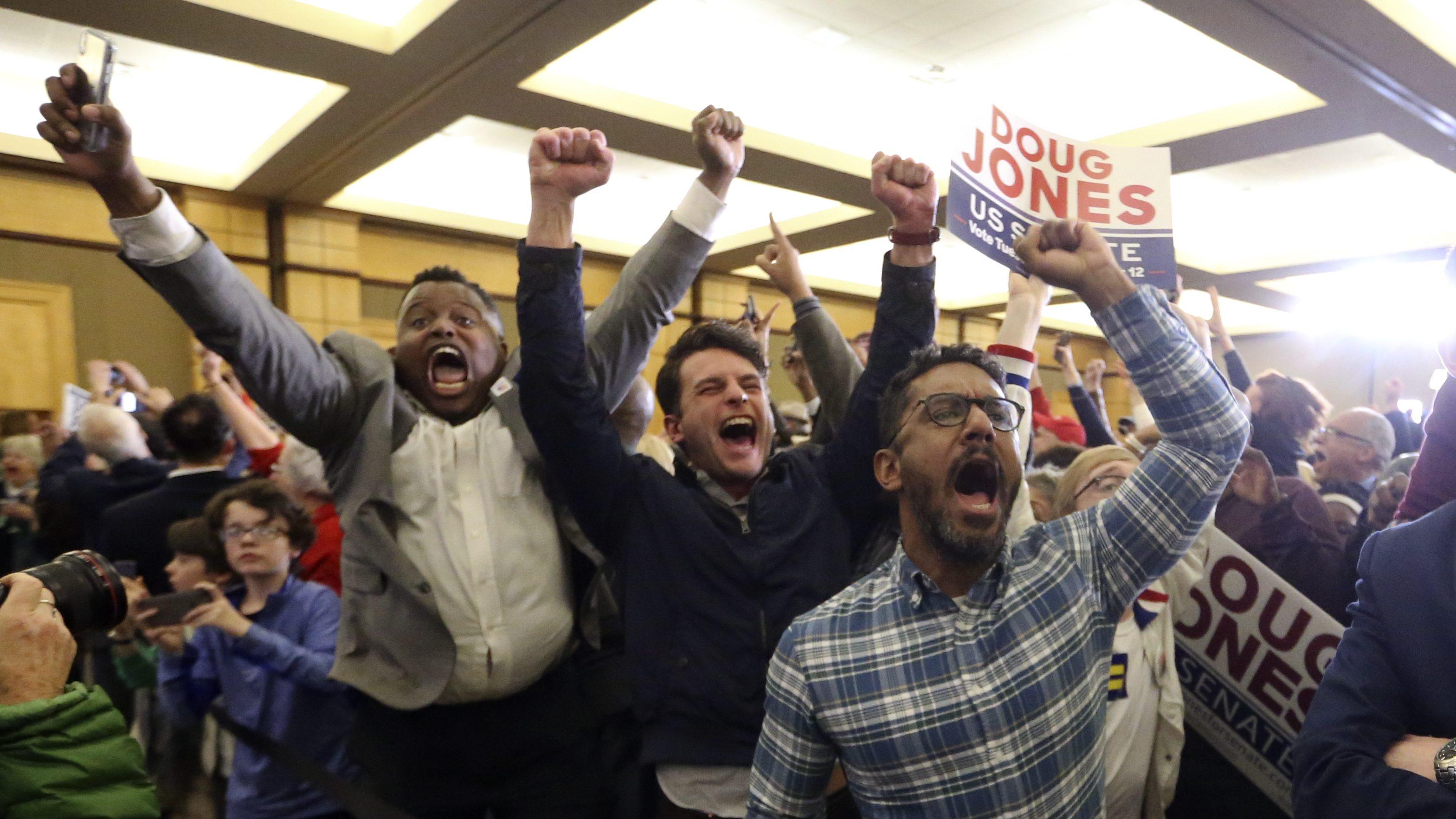 Supporters of Democratic candidate for U.S. Senate Doug Jones