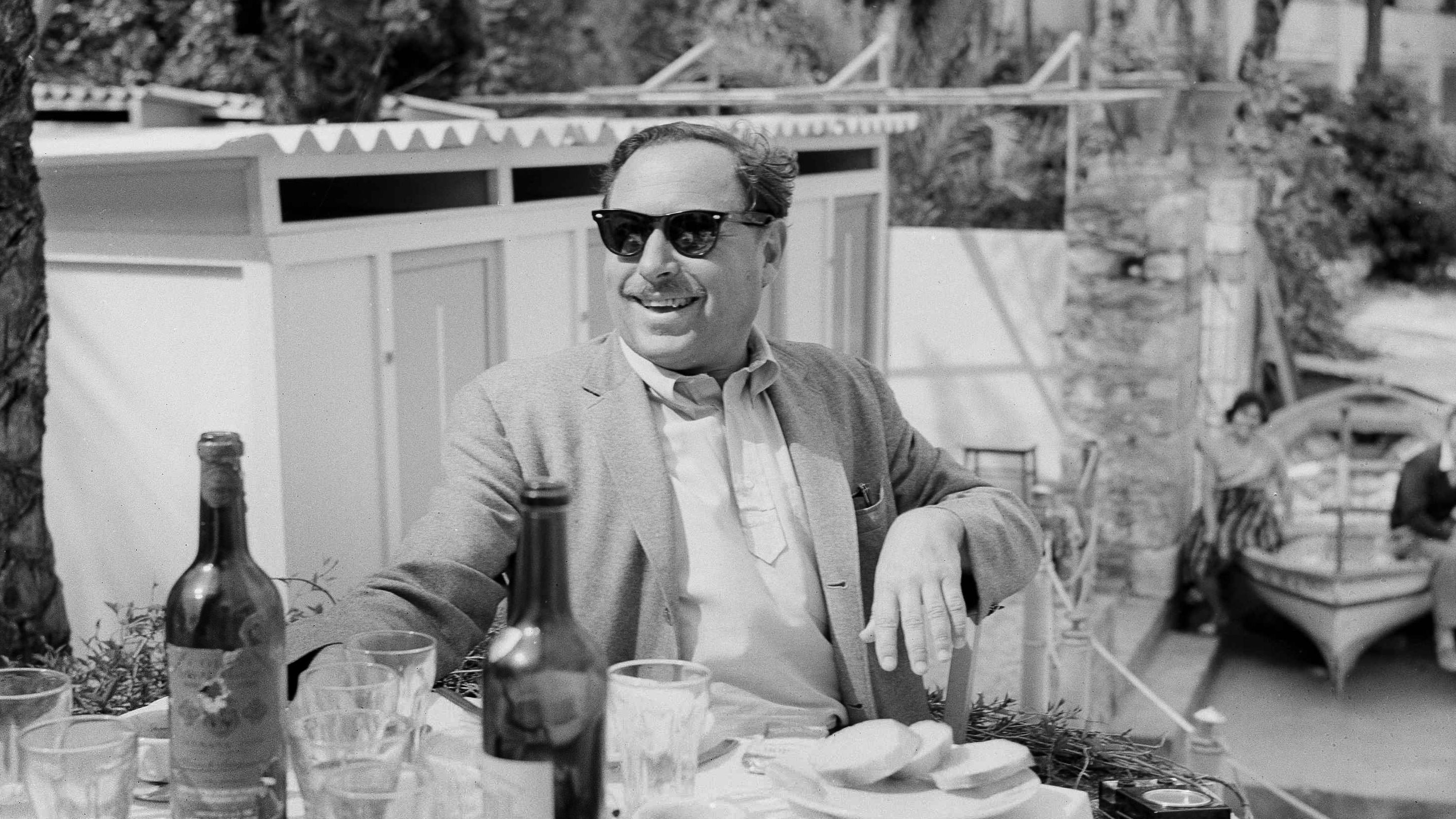 American author Tennessee Williams at a restaurant in Taormina, Famed sea resort on the eastern coast of Sicily, April 16, 1961.