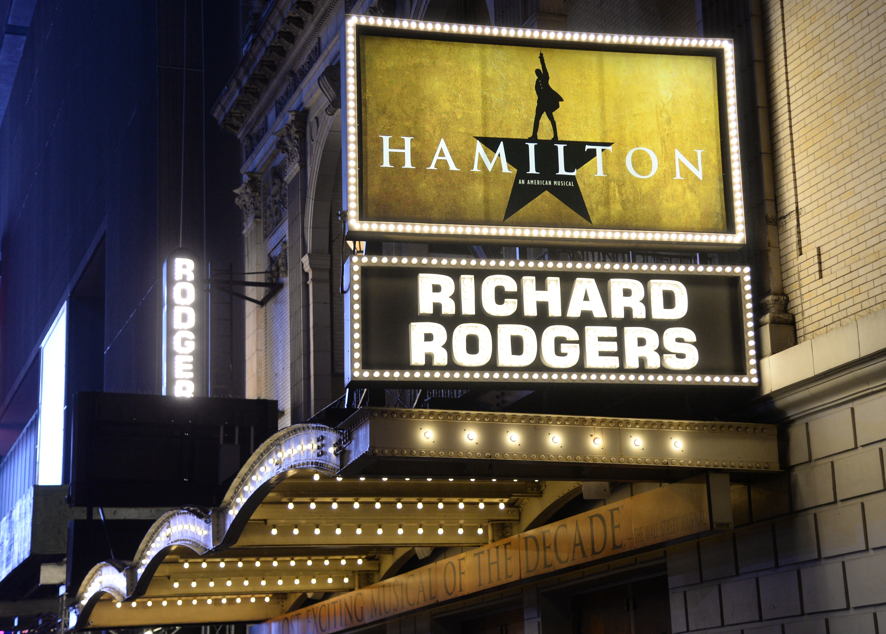 """The """"Hamilton"""" marquee at the Richard Rogers Theatre on Saturday, July 9, 2016, in New York. (Photo by Evan Agostini/Invision/AP)"""
