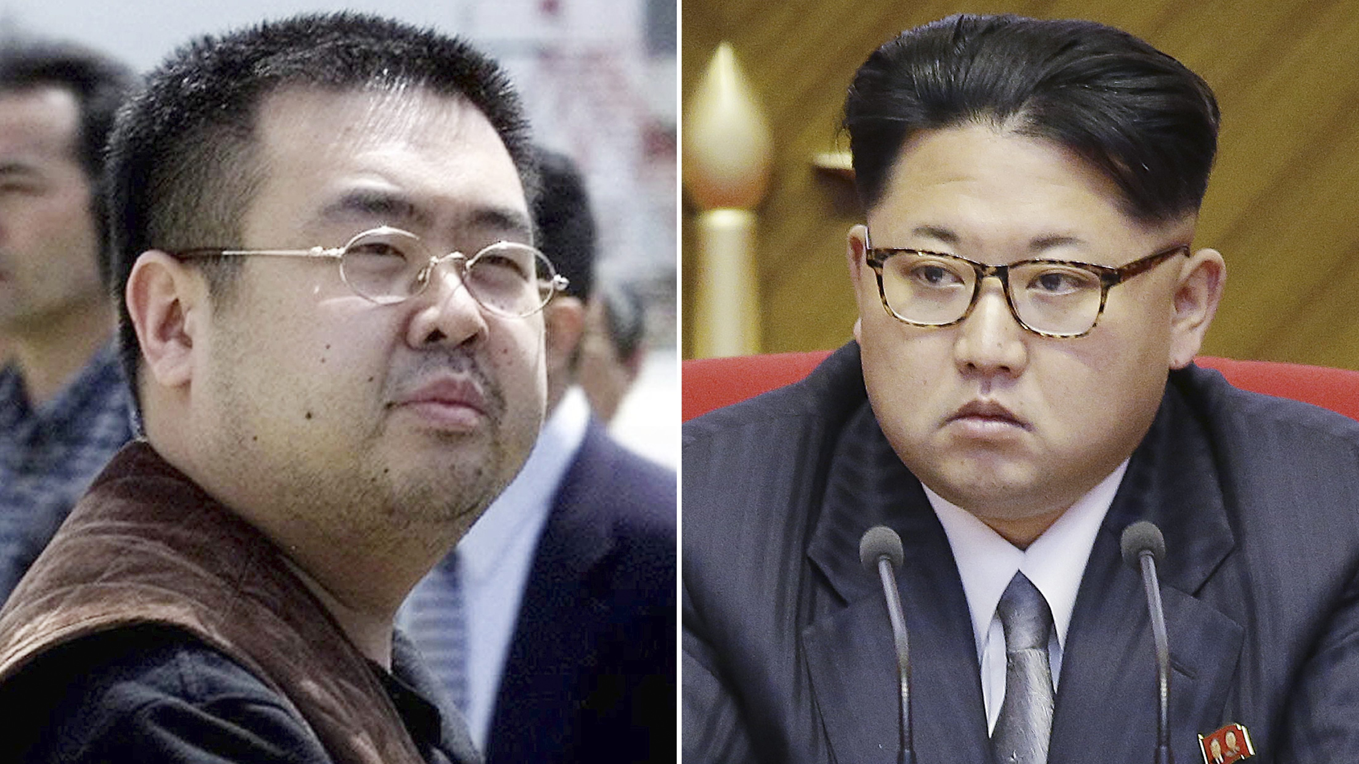 This combination of file photos shows Kim Jong Nam, left, exiled half-brother of North Korea's leader Kim Jong Un, in Narita, Japan, on May 4, 2001, and North Korean leader Kim Jong Un on May 9, 2016, in Pyongyang, North Korea. Two women accused of poisoning Kim in a bizarre airport assassination are expected to plead innocent when they appear in a Malaysian court on Friday, July 28, 2017. Indonesian Siti Aisyah and Vietnamese Doan Thi Huong are suspected of smearing Kim Jong Nam's face with the banned VX nerve agent at a crowded airport terminal on Feb. 13. The women, who face the death penalty if convicted, said they thought they were playing a harmless prank for a hidden-camera show.