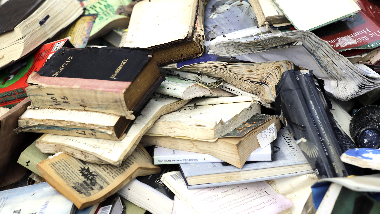 books damaged by Hurricane Harvey Houston Texas