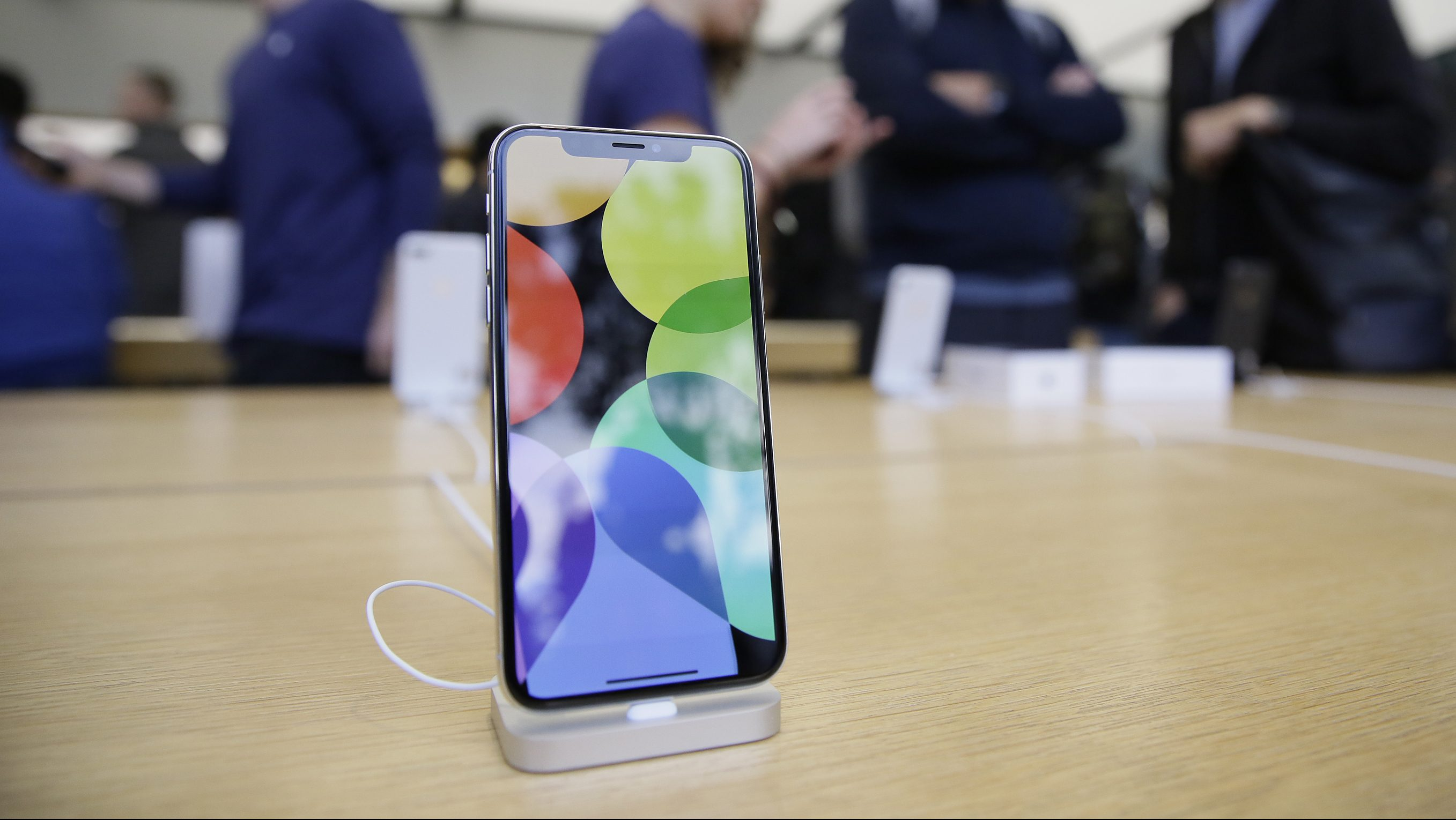 The new iPhone X is seen on display at the Apple Union Square store Friday, Nov. 3, 2017, in San Francisco. The iPhone X's lush screen, facial-recognition skills and $1,000 price tag are breaking new ground in Apple's marquee product line. Now, the much-anticipated device is testing the patience of consumers and investors as demand outstrips suppliers' capacity. (AP Photo/Eric Risberg)
