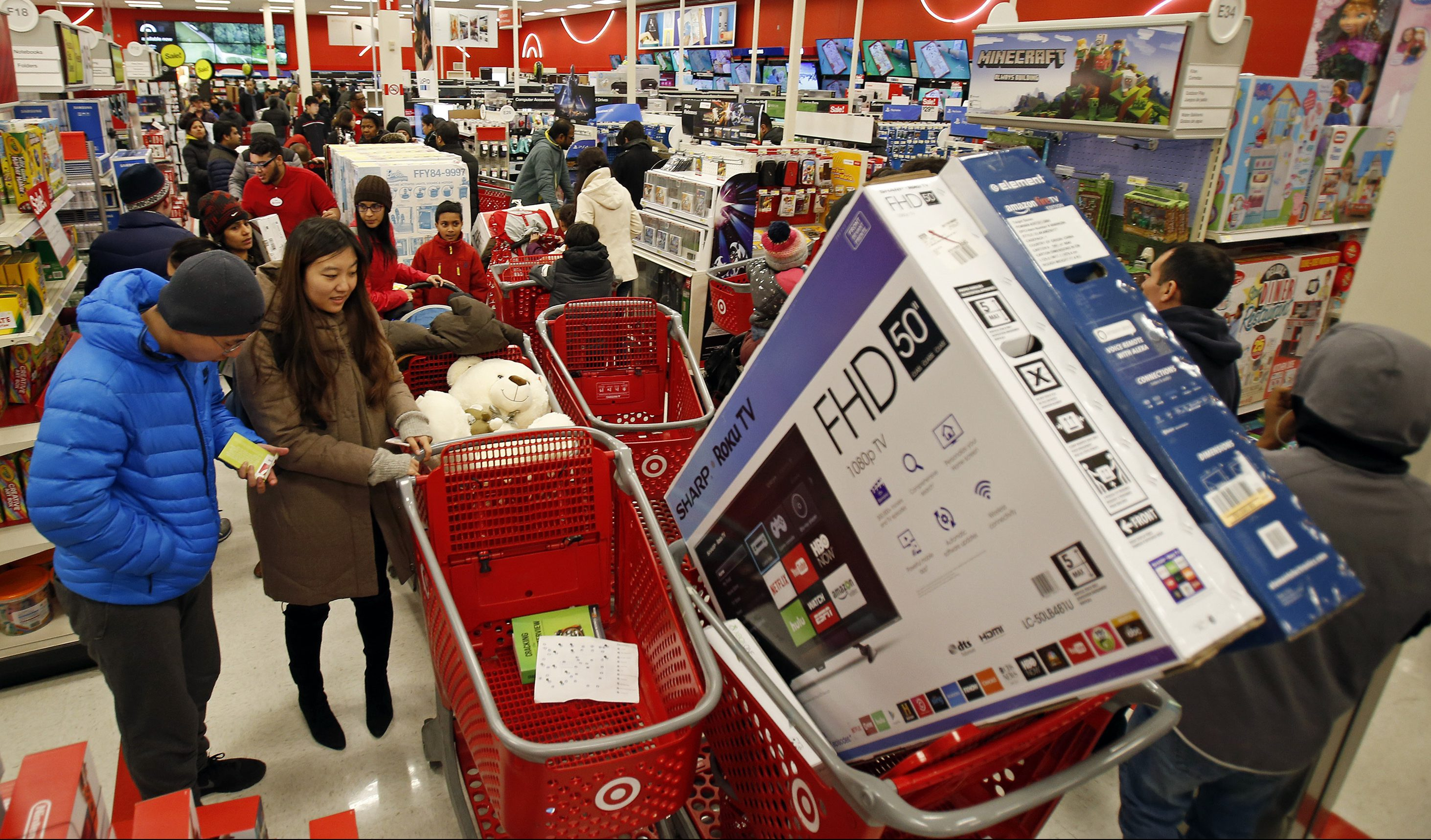IMAGE DISTRIBUTED FOR TARGET - On Black Friday, Target offers its lowest prices of the season on items like TVs and electronics as shoppers shop on Thursday, Nov. 23, 2017, in Jersey City, N.J. (Adam Hunger/AP Images for Target)