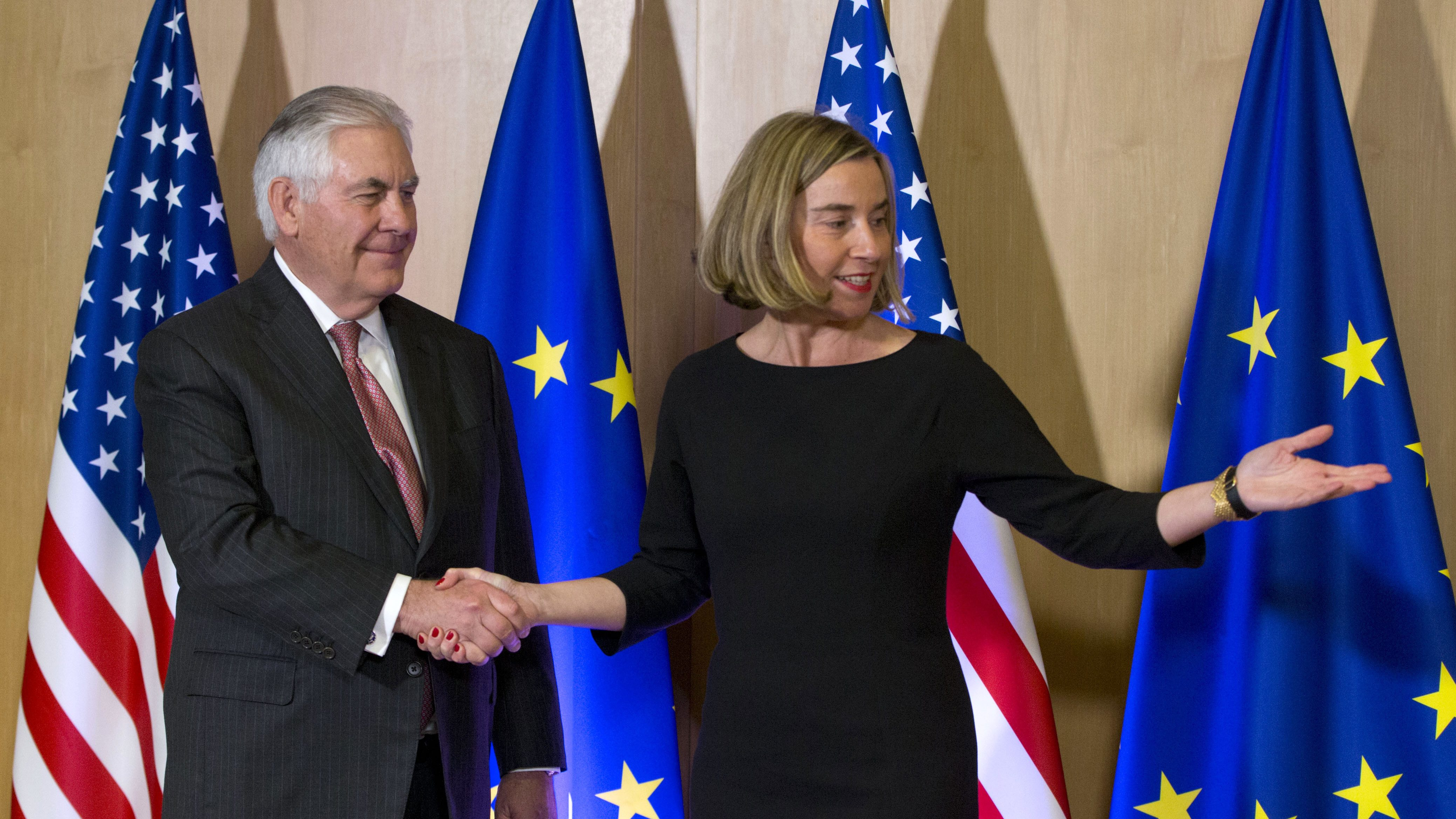 U.S. Secretary of State Rex Tillerson, left, meets with EU foreign policy chief Federica Mogherini at the EU Council building in Brussels on Tuesday, Dec. 5, 2017. U.S. Secretary of State Rex Tillerson visited European Union headquarters on Tuesday to assess trans-Atlantic relations. (AP Photo/Virginia Mayo, Pool)