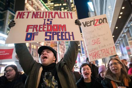 Net neutrality supports rally in New York, Dec. 7, 2017.