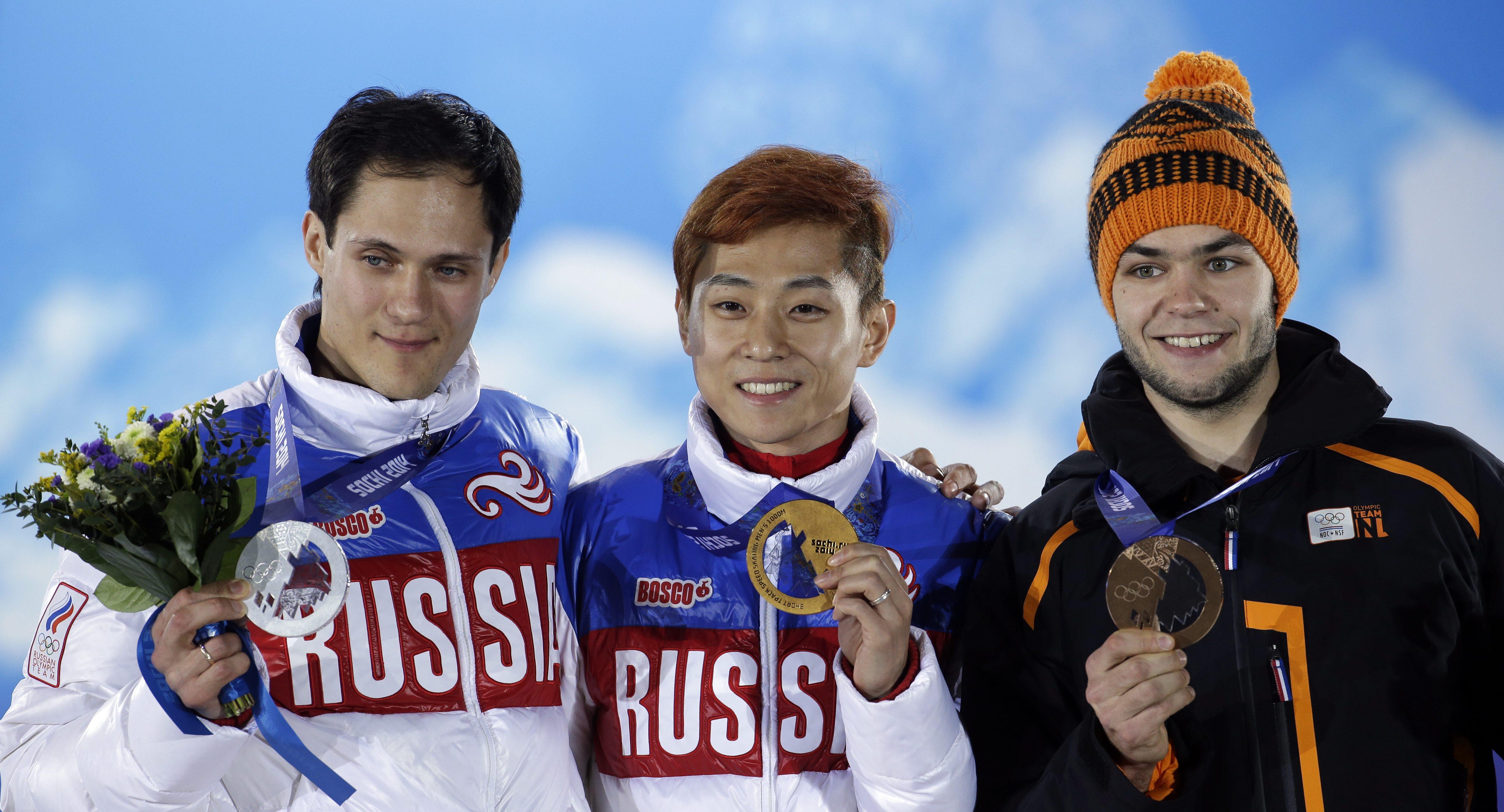 Sochi Olympics Medals Ceremony Short Track Speedskating Men