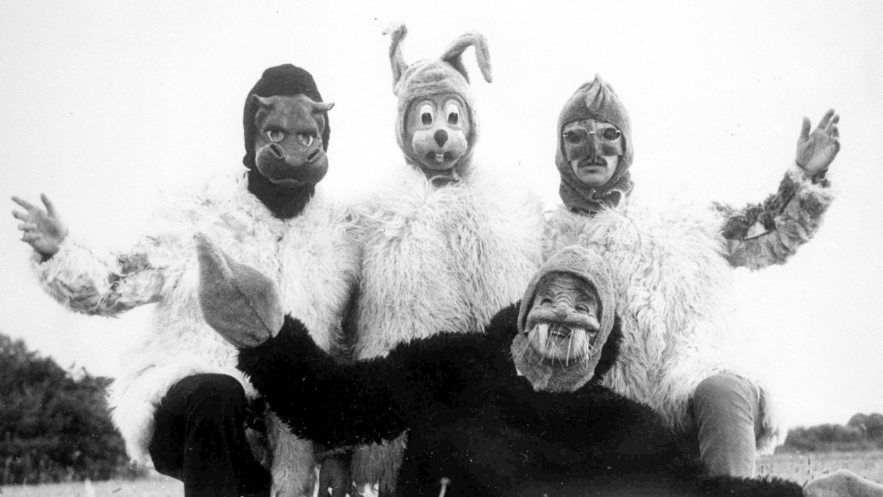 """In a scene from their controversial television film fantasy """"Magical Mystery Tour"""", in which The Beatles are seen disguised as animals, in England, Dec. 28,1967. (AP Photo)"""