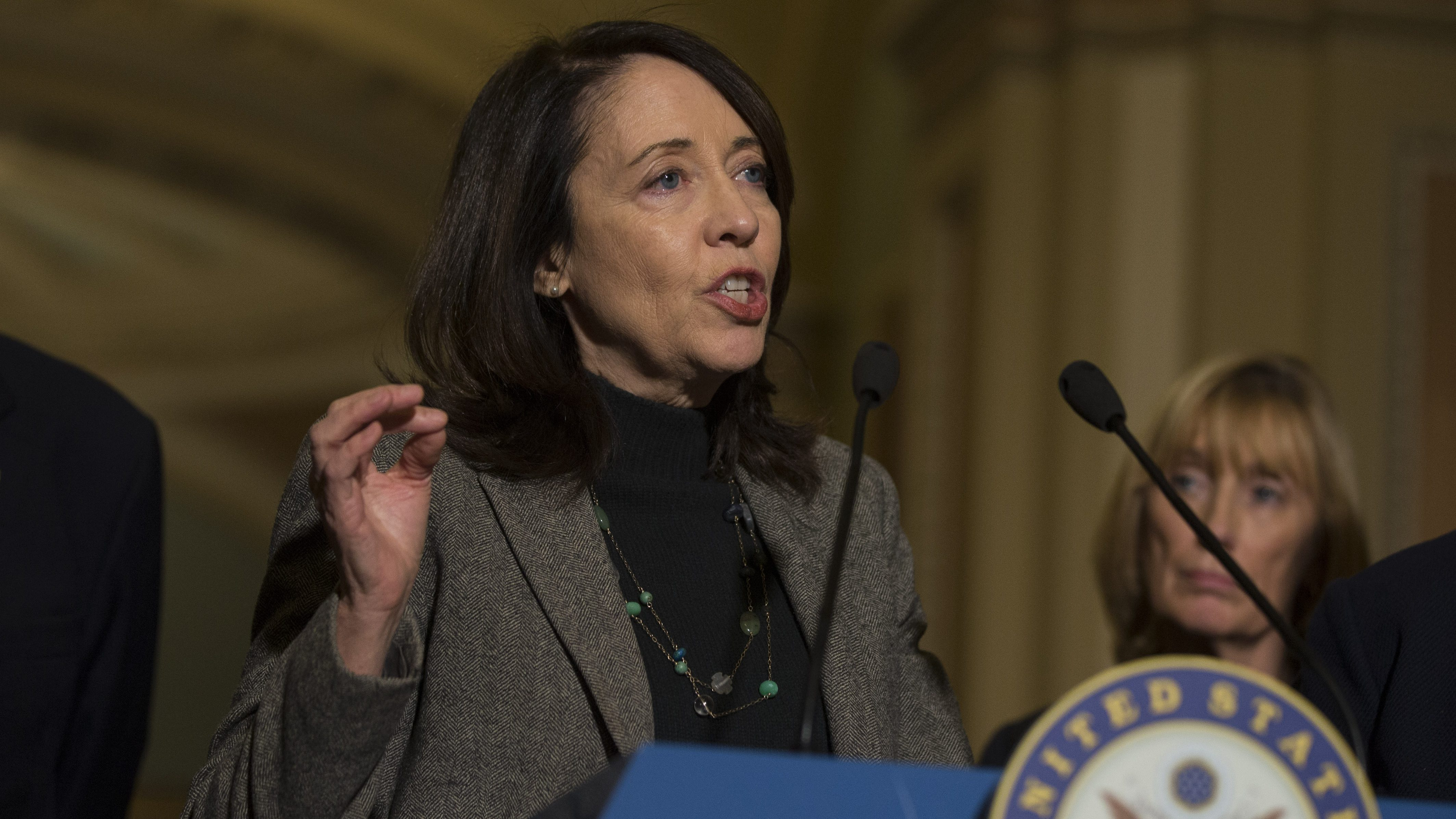 United States Senator, Maria Cantwell, Democrat of Washington, speaks with reporters following the weekly United States Senate Democratic Party policy luncheons on Capitol Hill on November 14th, 2017 in Washington, D.C. Credit: Alex Edelman / MediaPunch/IPX