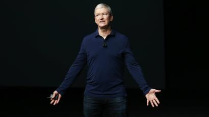 Apple Inc CEO Tim Cook makes his closing remarks during an Apple media event in San Francisco, California, U.S.