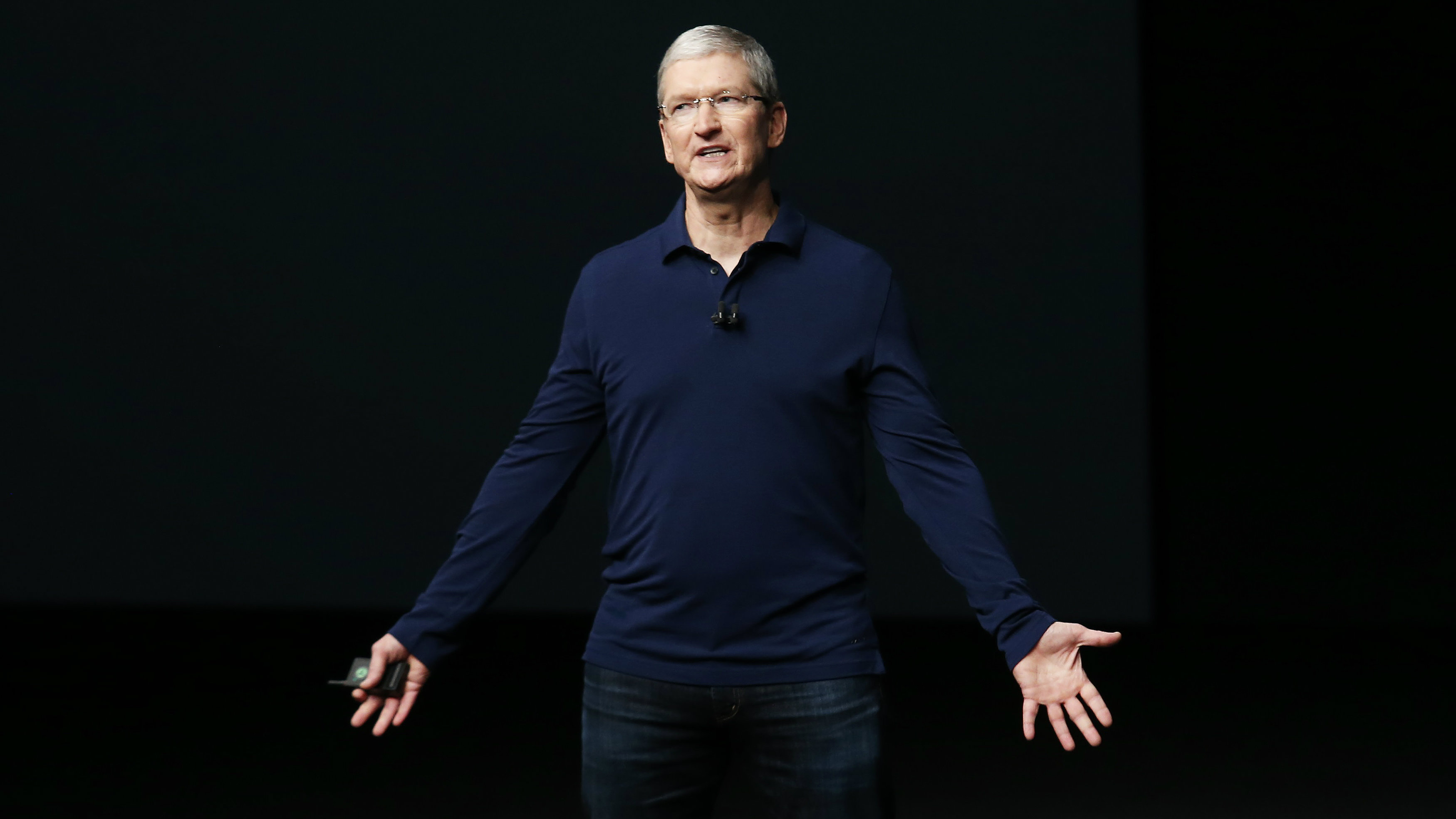 Apple Inc CEO Tim Cook makes his closing remarks during an Apple media event in San Francisco, California,