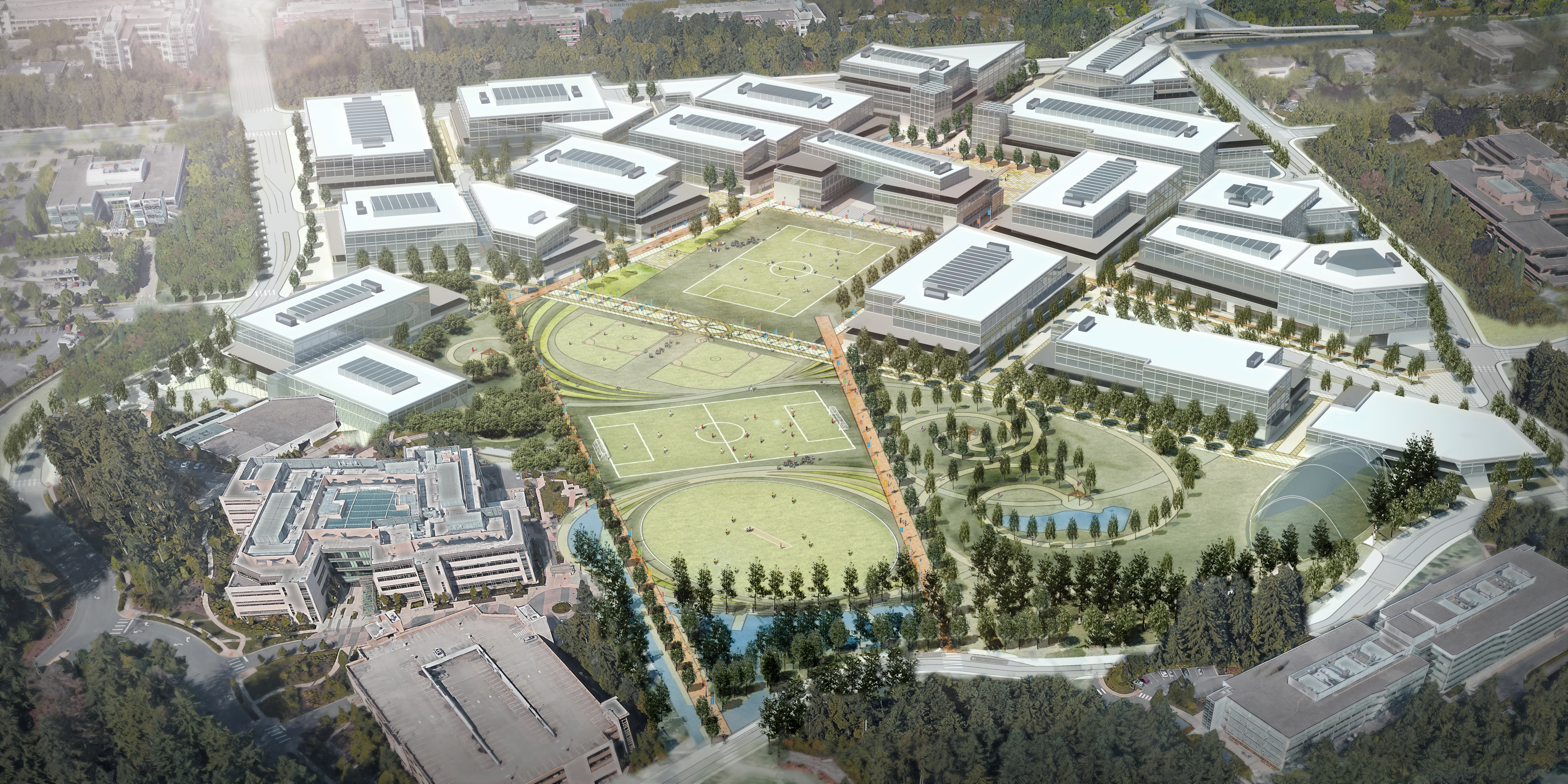 artist rendering of Microsoft campus with cricket field