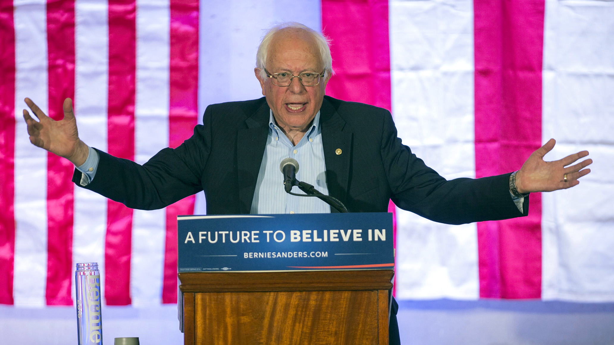 Democratic presidential candidate Sen. Bernie Sanders, I-Vt., holds a town hall meeting at the Luis Muñoz Marin Foundation in Trujillo Alto, Puerto Rico, Monday, May 16, 2016. Sanders arrived in Puerto Rico on Monday to talk about the U.S. territory's worsening debt crisis ahead of the June 5 primary.