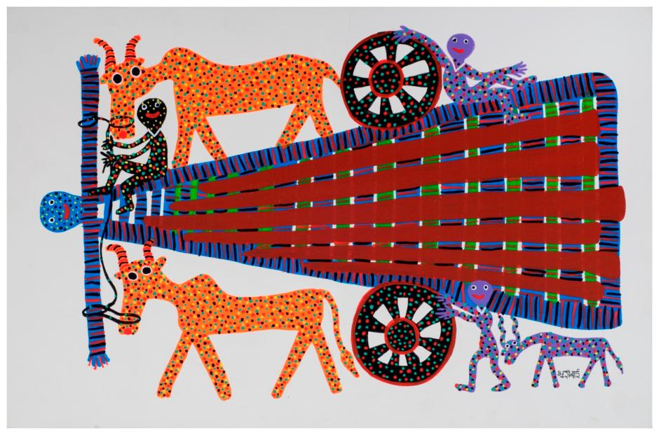 Bhuri Bai, Untitled, acrylic on paper. An artist from the Bhil tribal community, Bhuri Bai uses a distinctive dotted colouring technique to bring animals to life on her canvas.