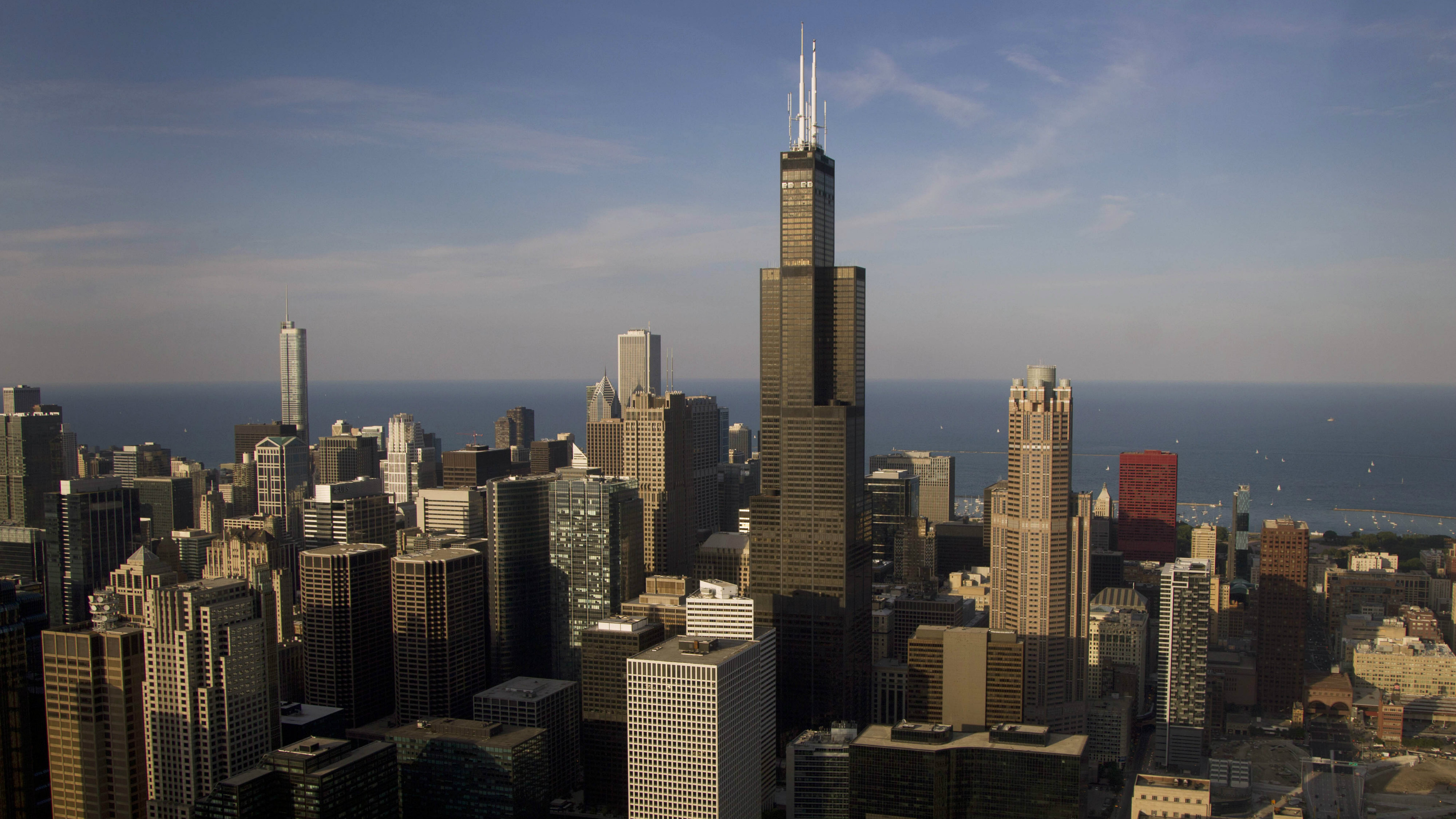 The Chicago skyline is seen from the media helicopter as President Barack Obama and his family aboard fly aboard Marine One, not seen, to the the 37th Street Lake Front landing zone, Friday, June 15, 2012, in Chicago.