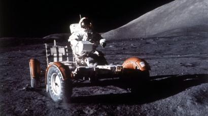 Astronaut Eugene A. Carnan makes a short checkout of the Lunar Roving Vehicle during the early part of the Apollo 17 extravehicular activity (EVA-1) at the Taurtus-Littrow landing site.