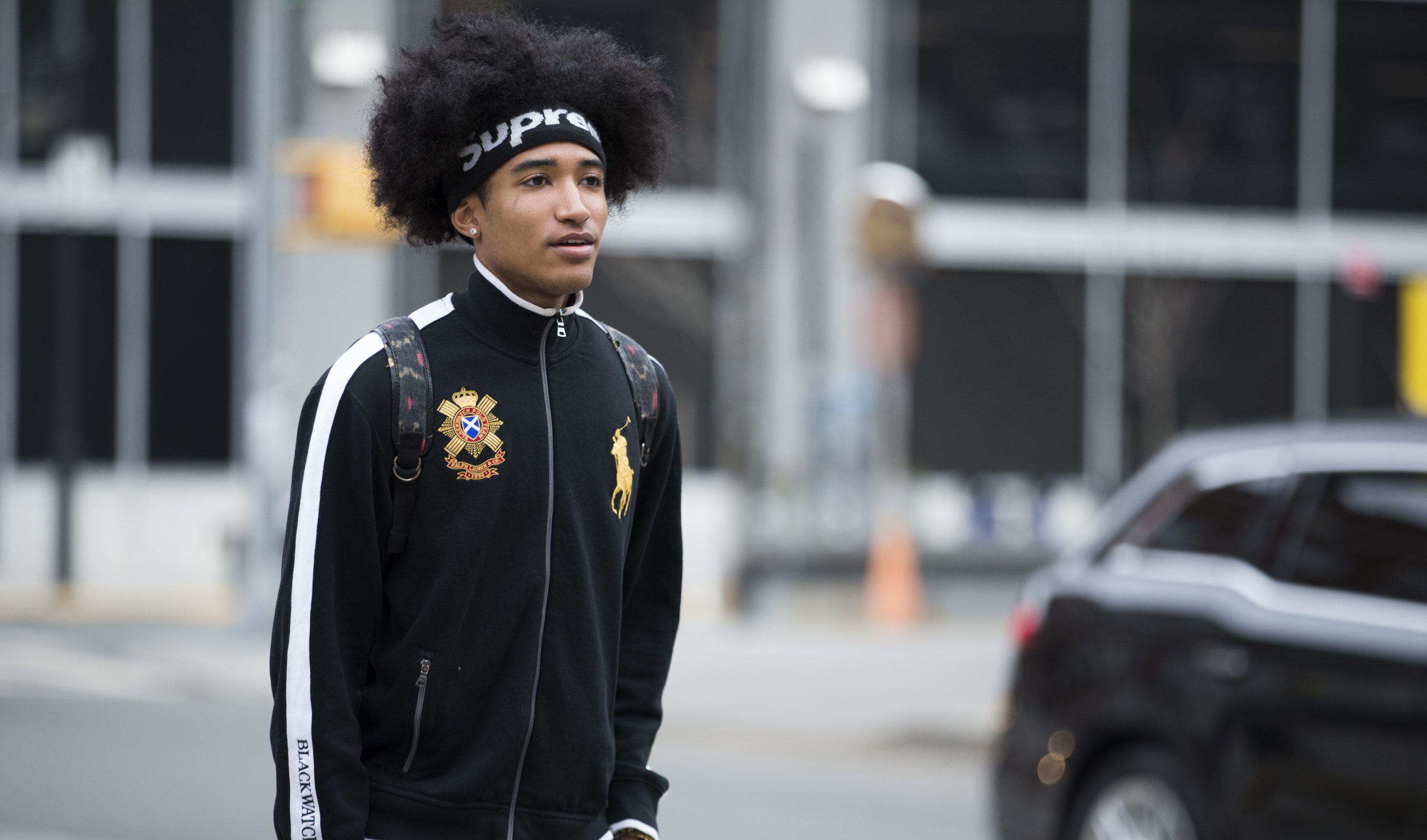 eaeeaea4 A model wears a Supreme headband, and black Ralph Lauren jacket during New  York Fashion