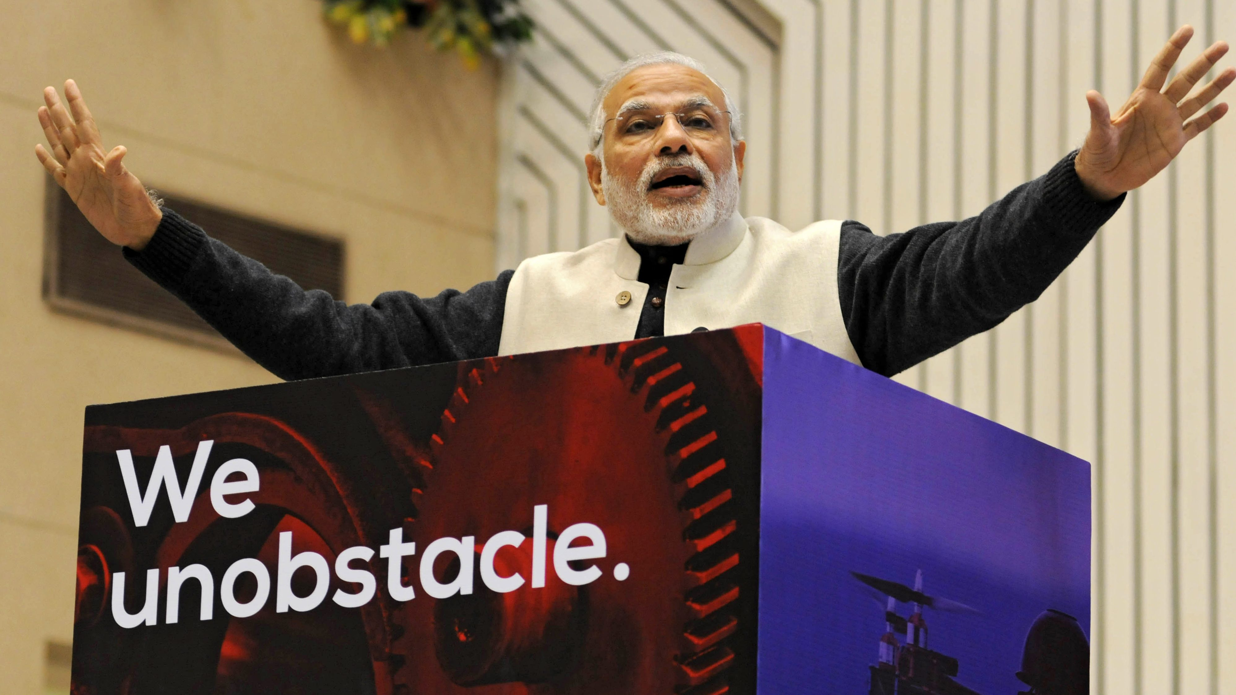 Indian Prime Minister Narendra Modi delivers a speech during 'Start Up India' event to launch the initiative and unveil the startup Action Plan by him in New Delhi, India, 16 January 2016. Centred around the entrepreneurial spirit of India, the Start-Up India plan is expected to boost the entrepreneurship in the country. The Indian government said it will introduce friendly tax measures and easy financing for start-ups to boost entrepreneurship at the grass-root level. With 4,200 firms, India already ranks third in the world in terms of the number of start-ups, behind the United States and Britain.  EPA/STR