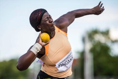 Dongmo Auriole of Cameroon is on her way to place third in the women's shot put final at the Gyulai Istvan Memorial Track and Field Grand Prix in Szekesfehervar, 63 kms southwest of Hungary.