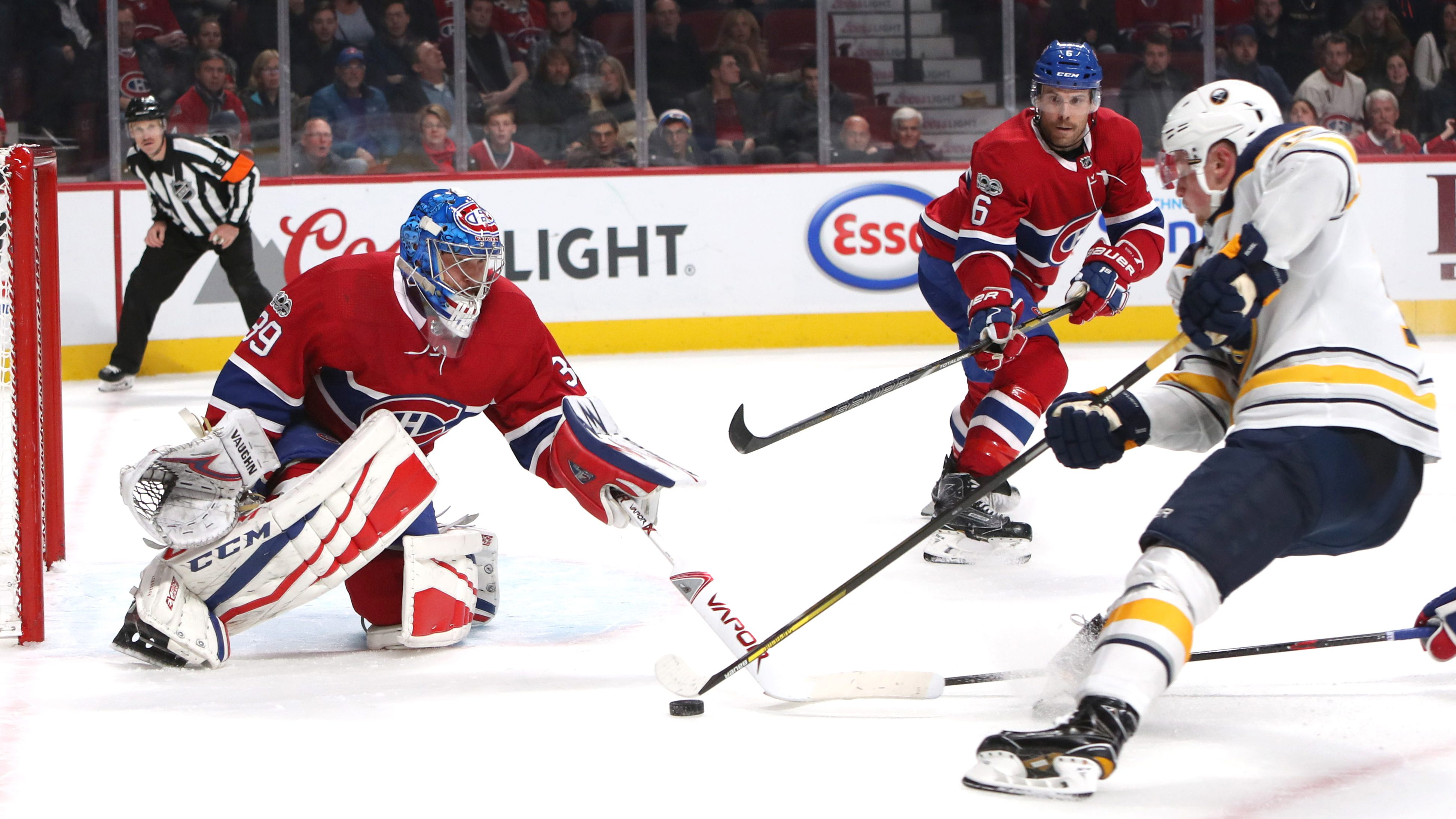 Nov 11, 2017; Montreal, Quebec, CAN; Buffalo Sabres center Jack Eichel (15) shoots against Montreal Canadiens goalie Charlie Lindgren (39) as defenseman Shea Weber (6) defends during an over time period at Bell Centre. Mandatory Credit: Jean-Yves Ahern-USA TODAY Sports90 - 10405830