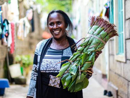 Rose Mugambi, a khat trade in Maua town in eastern Kenya. East African khat leaf is traded and chewed mostly by men, but it's a global business because of women.