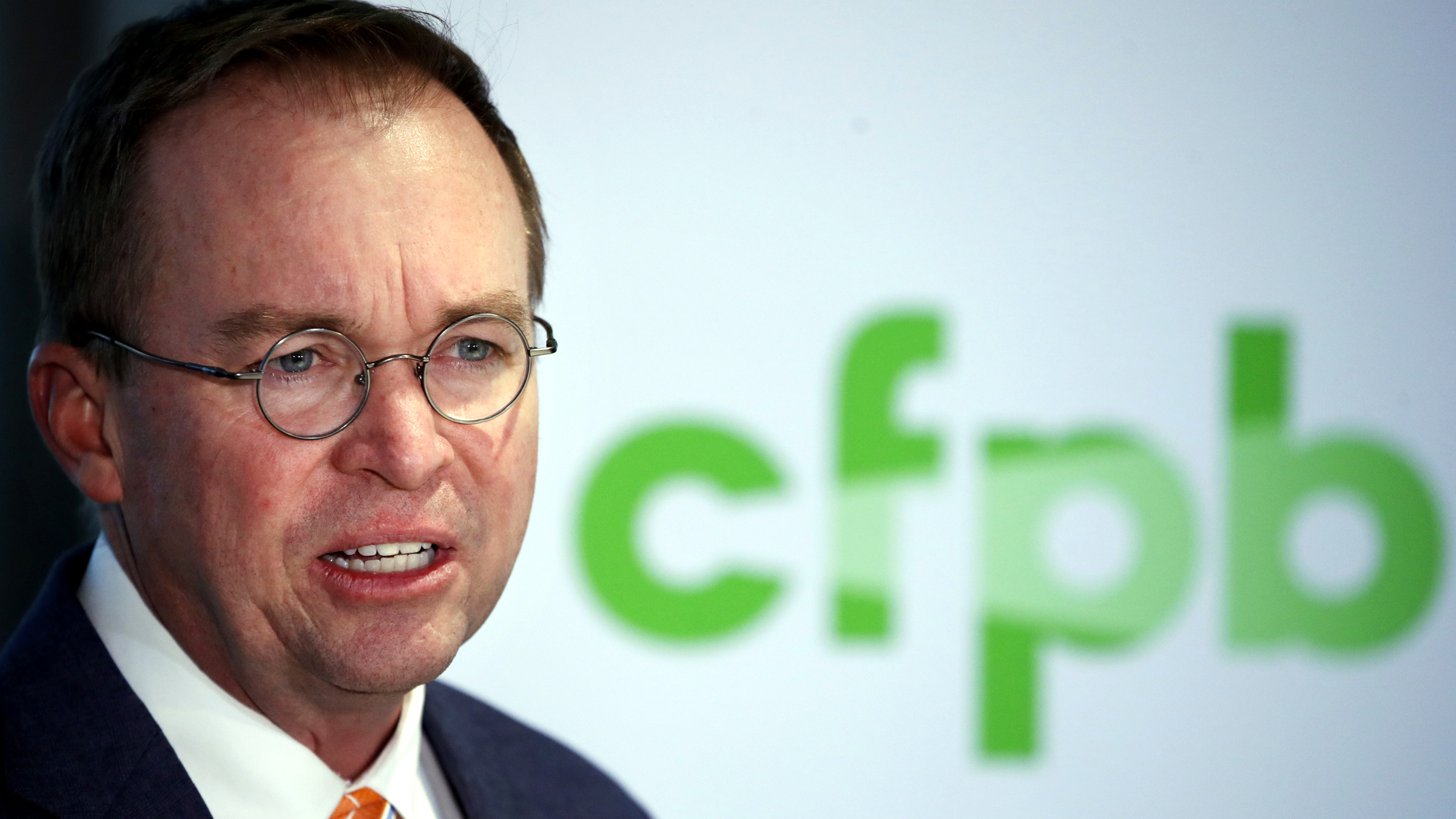 Mick Mulvaney speaks during a news conference after his first day as acting director of the Consumer Financial Protection Bureau in Washington, Monday, Nov. 27, 2017.